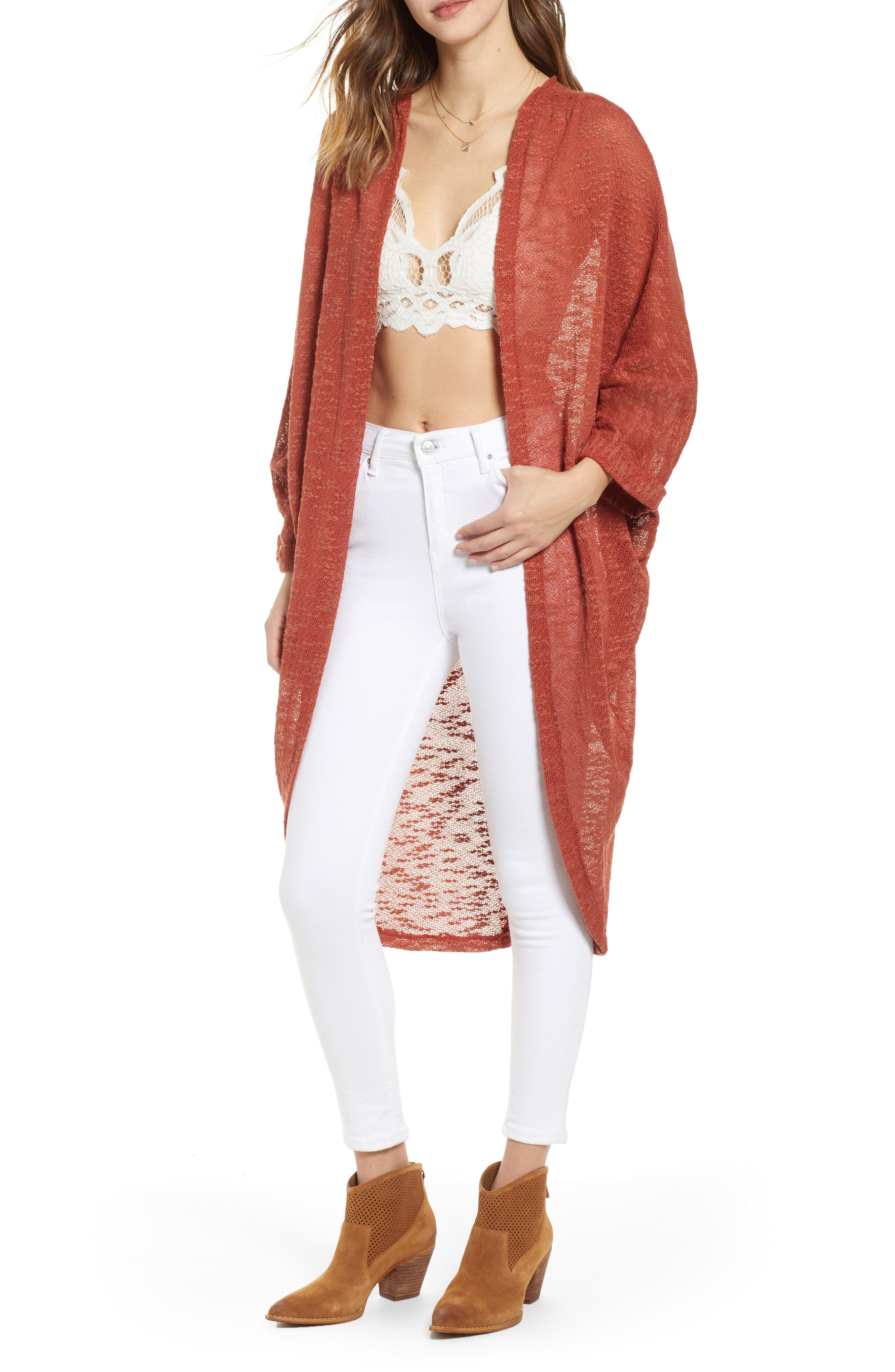Free People Promenade Cocoon Cardigan, Size One Size - Red