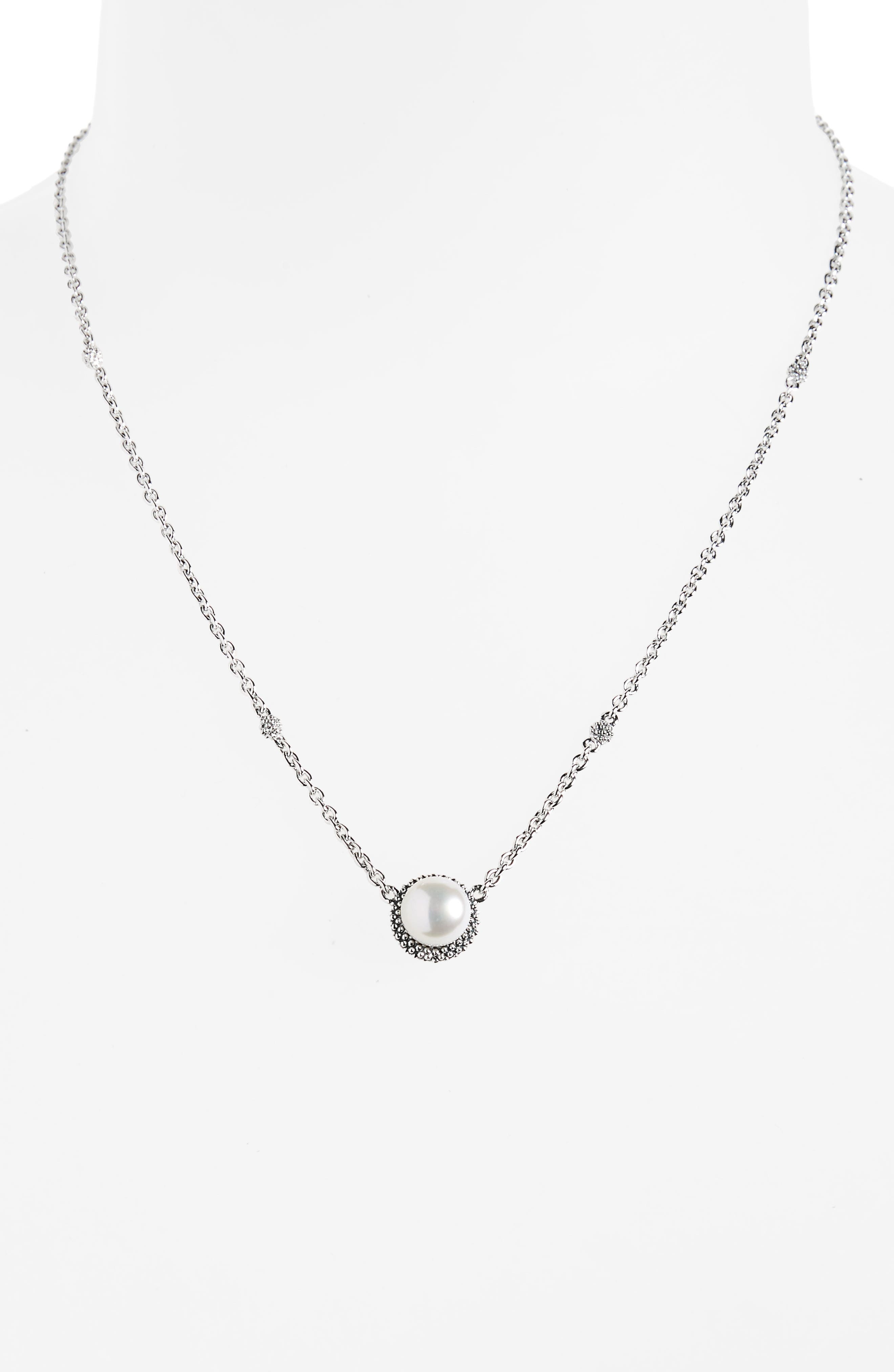 'Luna' Pearl Pendant Necklace,                             Alternate thumbnail 2, color,                             SILVER/ PEARL