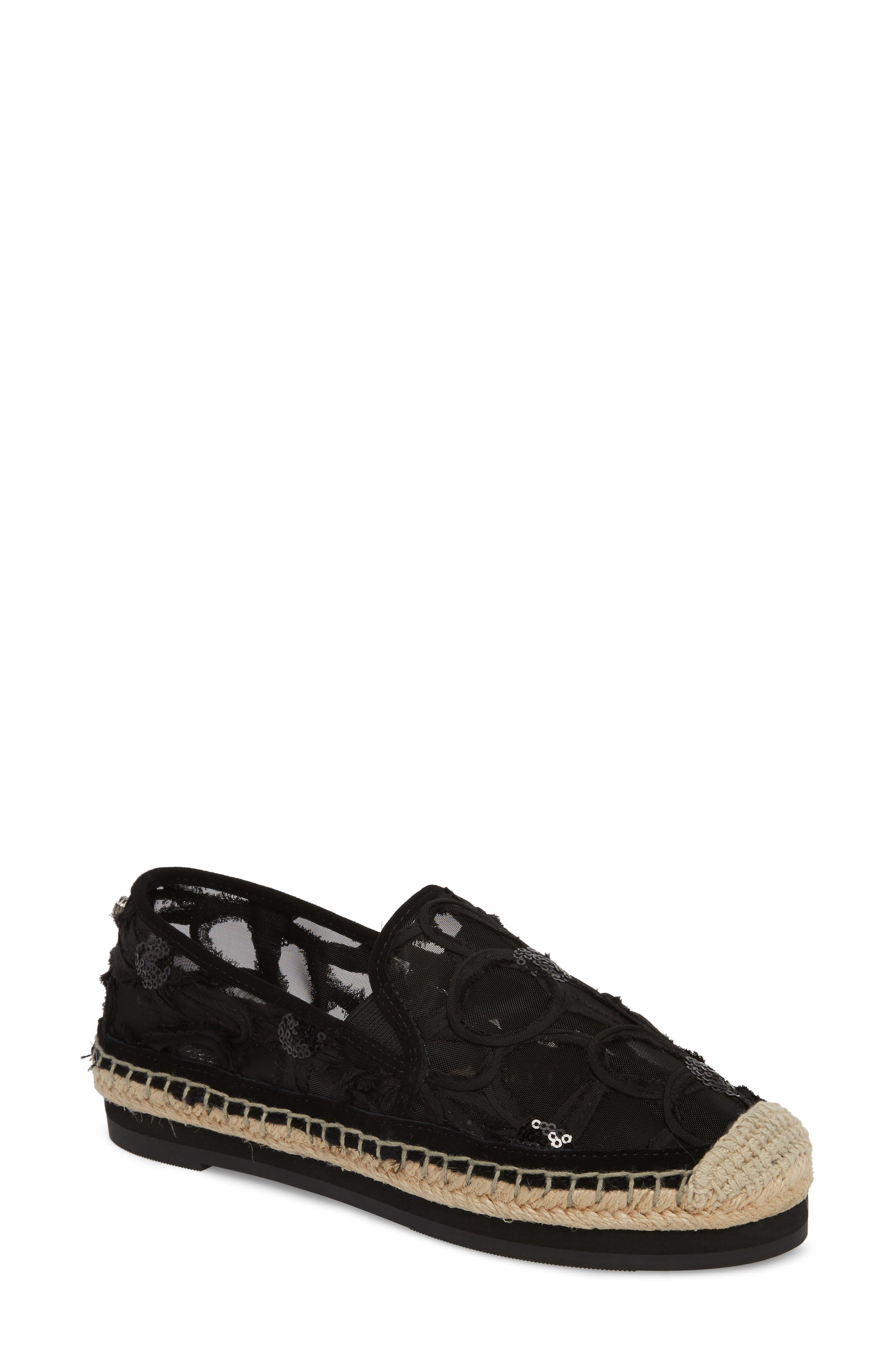 Sara Espadrille Platform Loafer,                         Main,                         color, BLACK MESH FABRIC