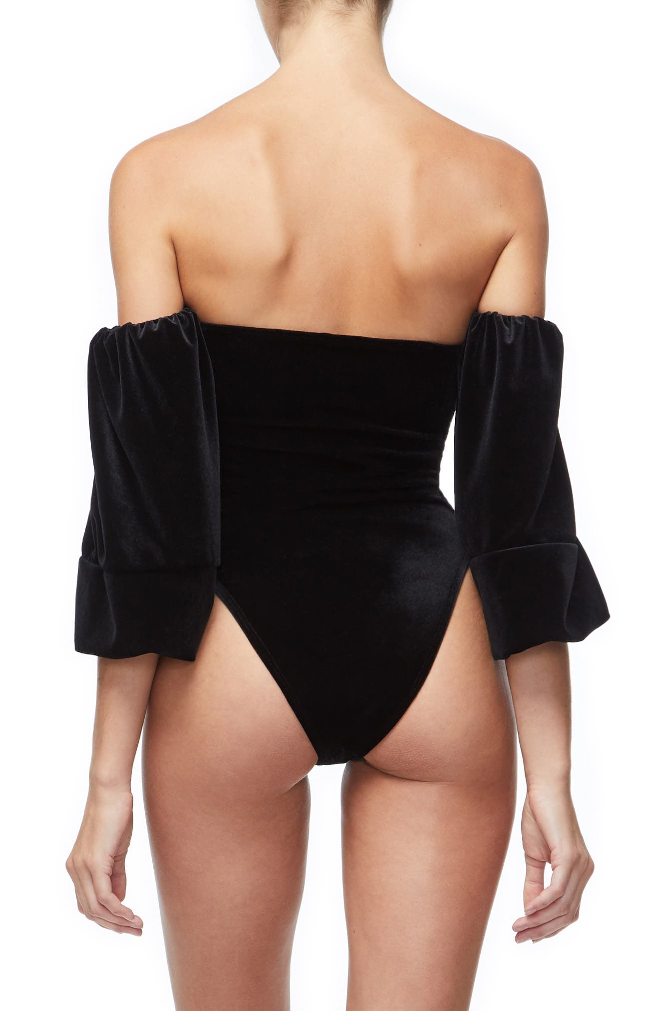 Velvet Off the Shoulder Bodysuit,                             Alternate thumbnail 3, color,                             BLACK