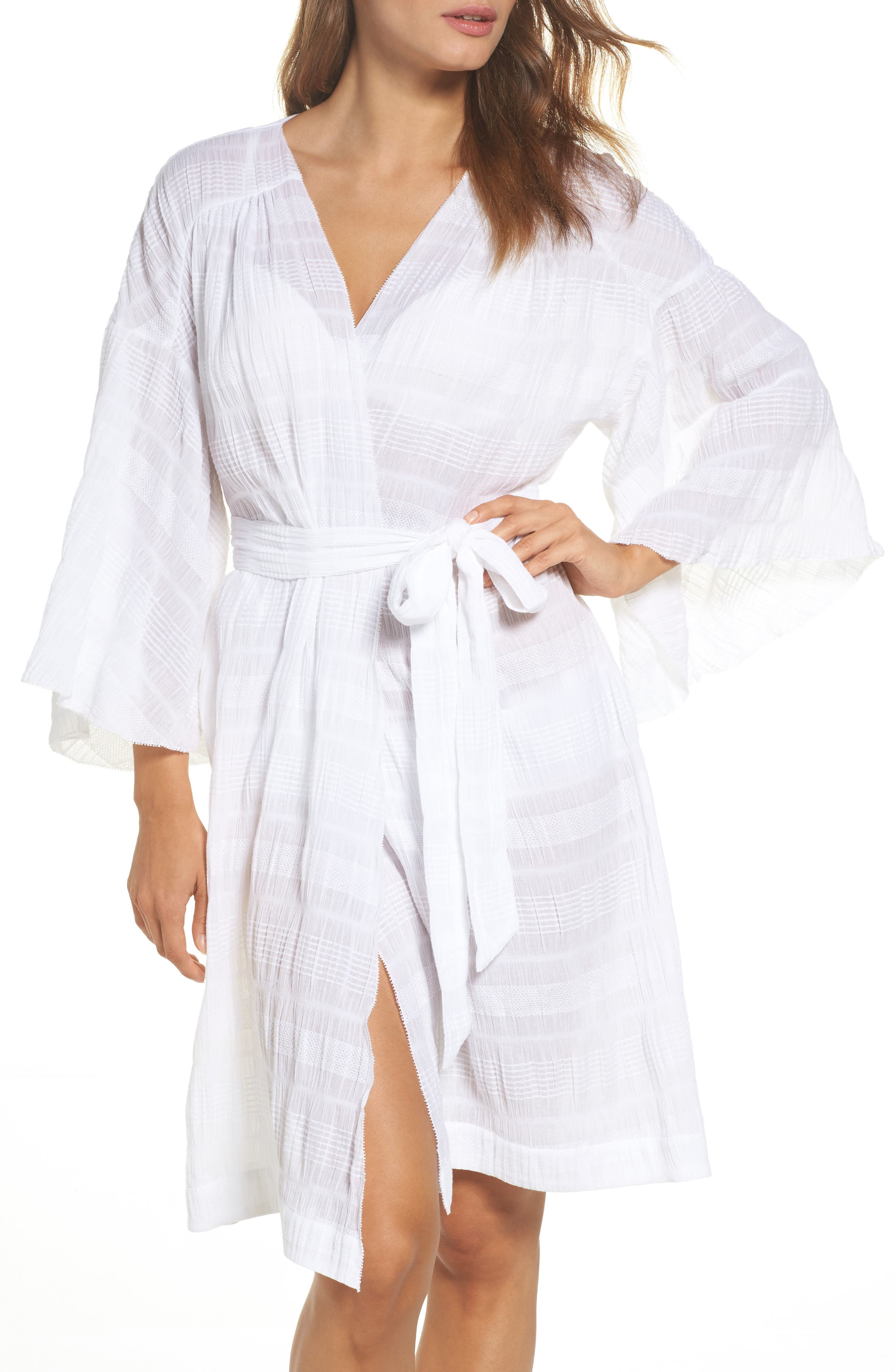 Nina Gauze Short Robe,                         Main,                         color, 100
