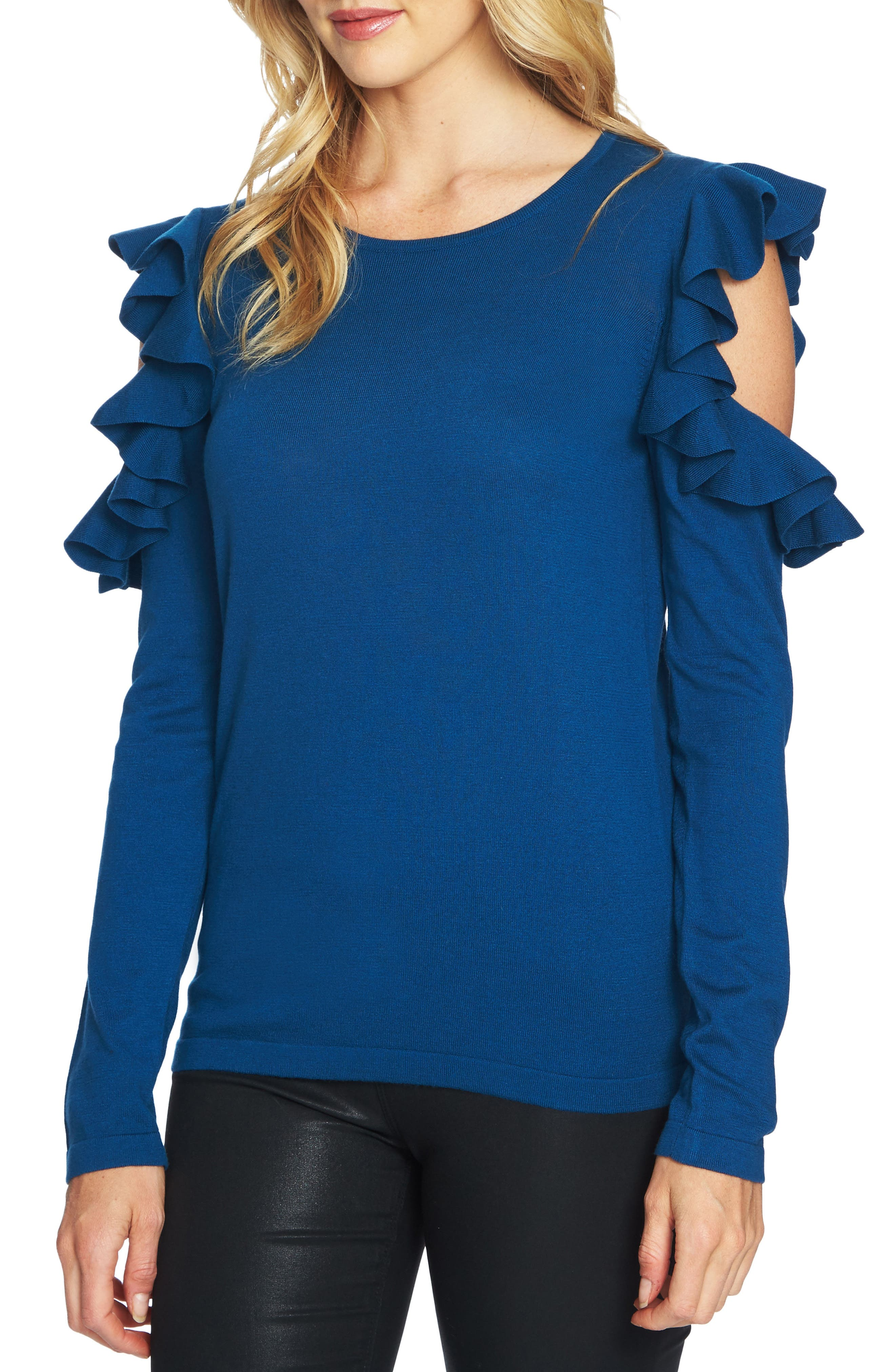 Ruffled Cold Shoulder Sweater,                             Alternate thumbnail 13, color,