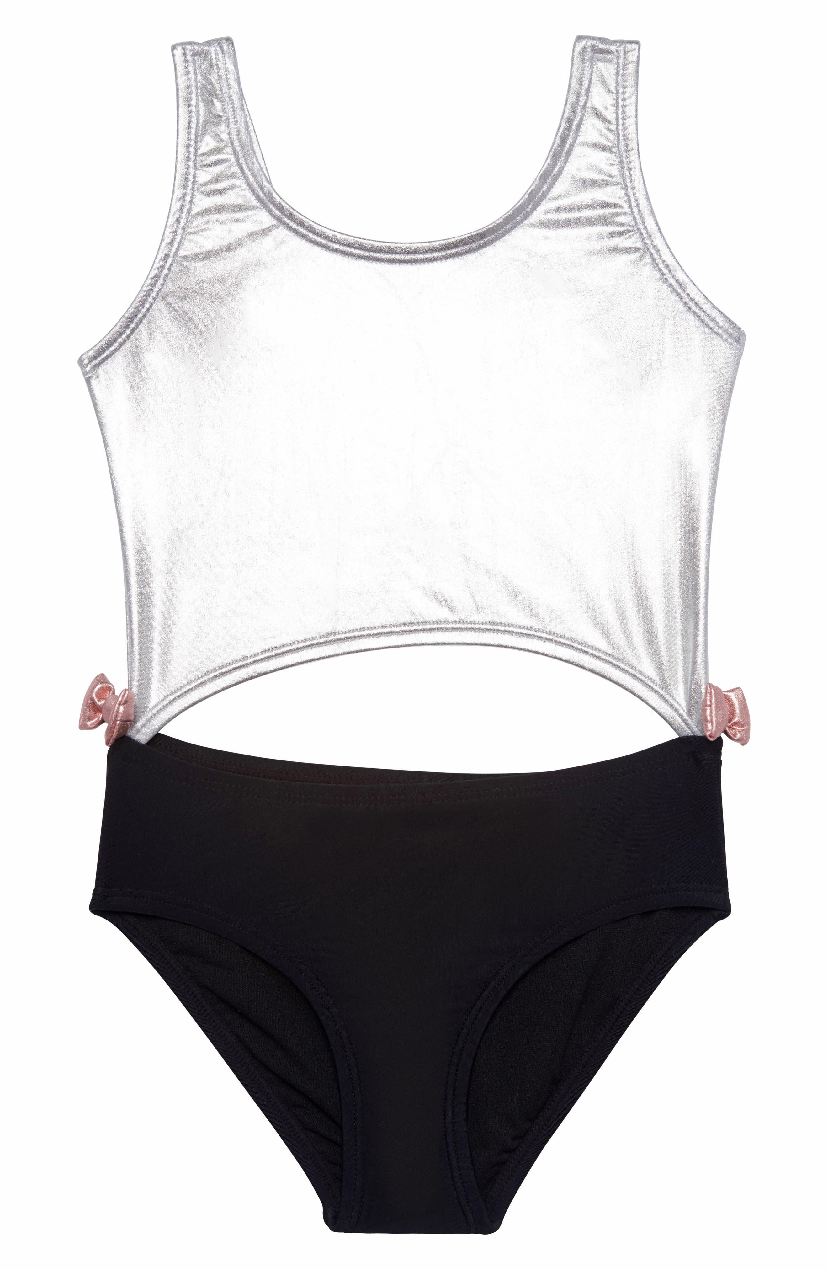 Colorblock One-Piece Swimsuit,                         Main,                         color, BLACK