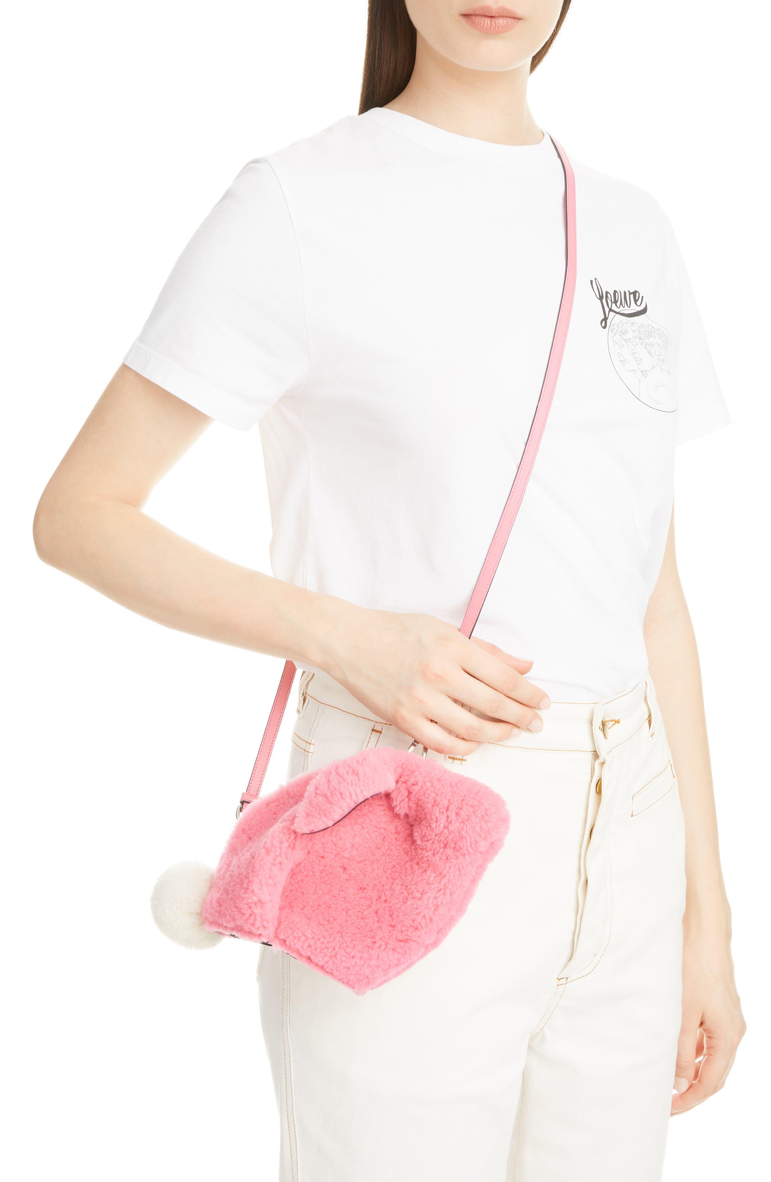 Mini Bunny Fuzzy Genuine Shearling Crossbody Bag,                             Alternate thumbnail 2, color,                             654