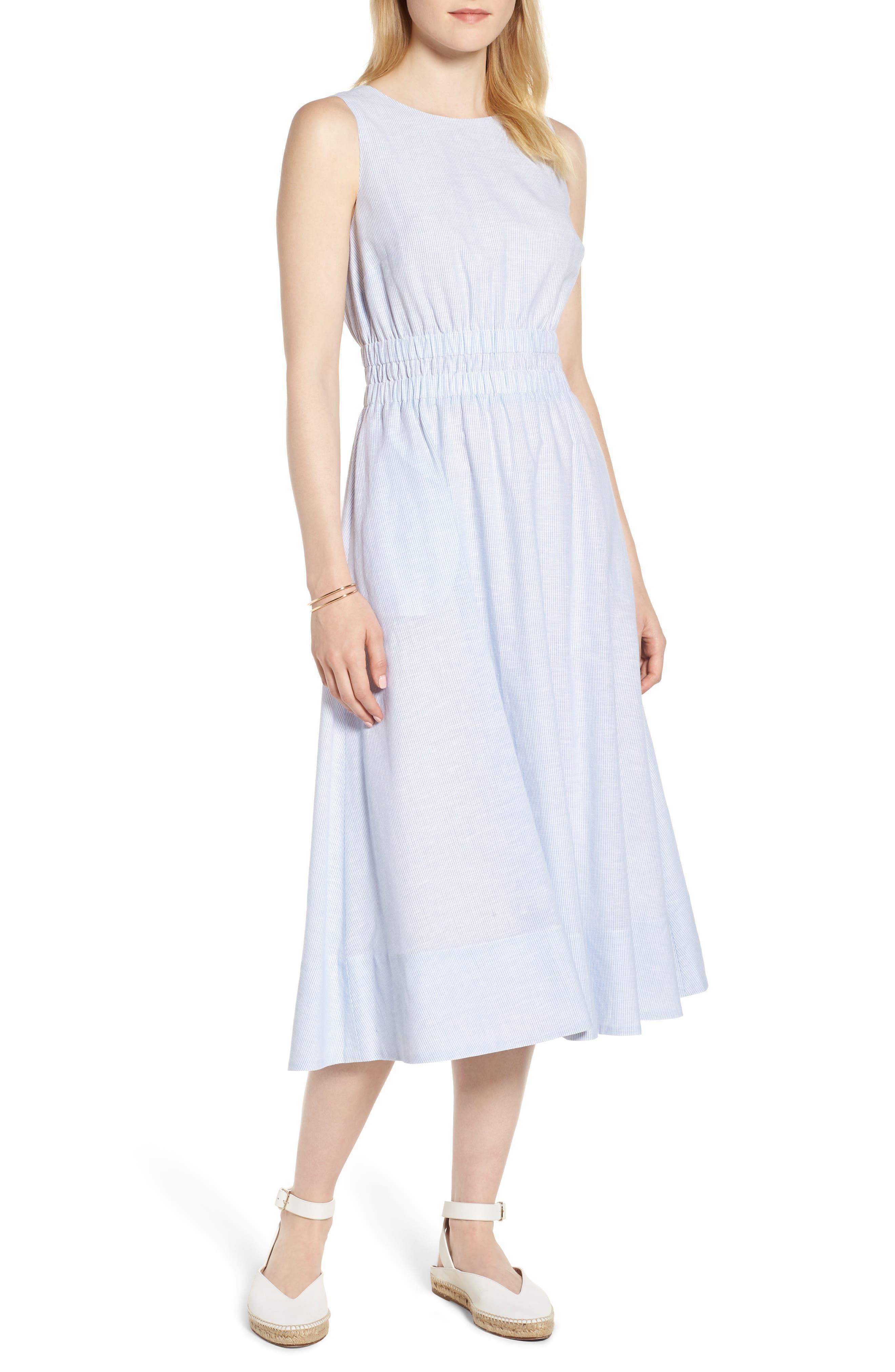 Smocked Waist Pinstripe Midi Dress,                         Main,                         color, 100