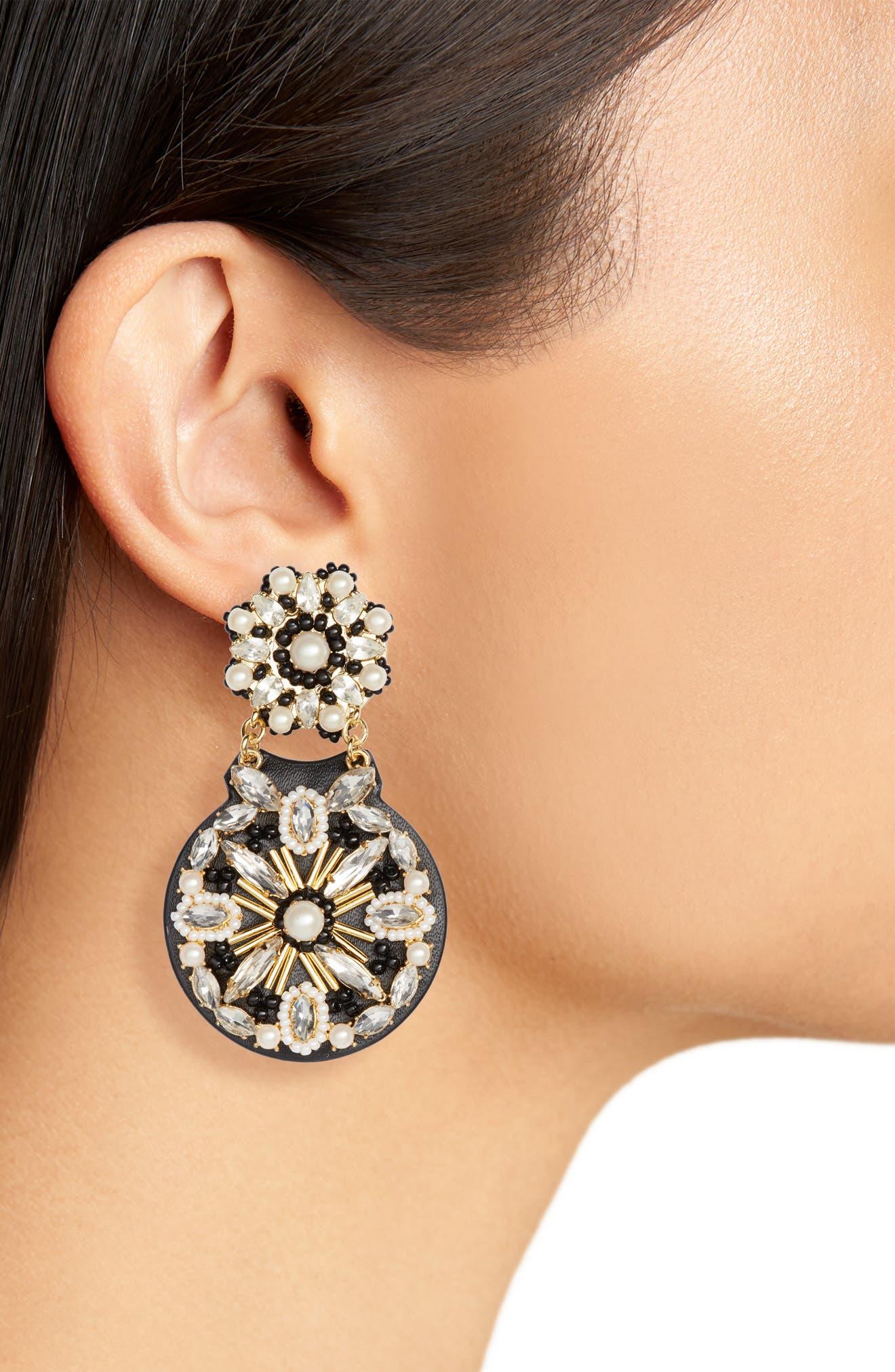desert garden drop earrings,                             Alternate thumbnail 2, color,                             BLACK MULTI