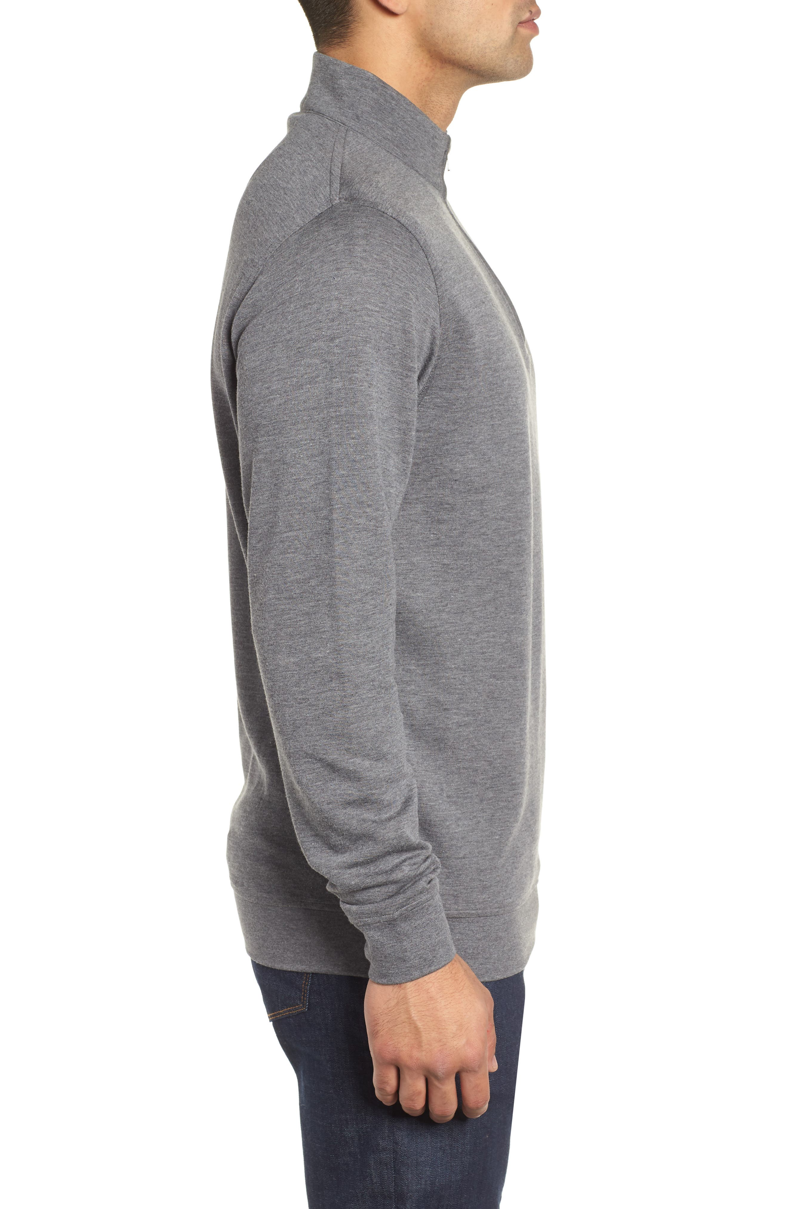 Crown Comfort Jersey Quarter Zip Pullover,                             Alternate thumbnail 3, color,                             CHARCOAL