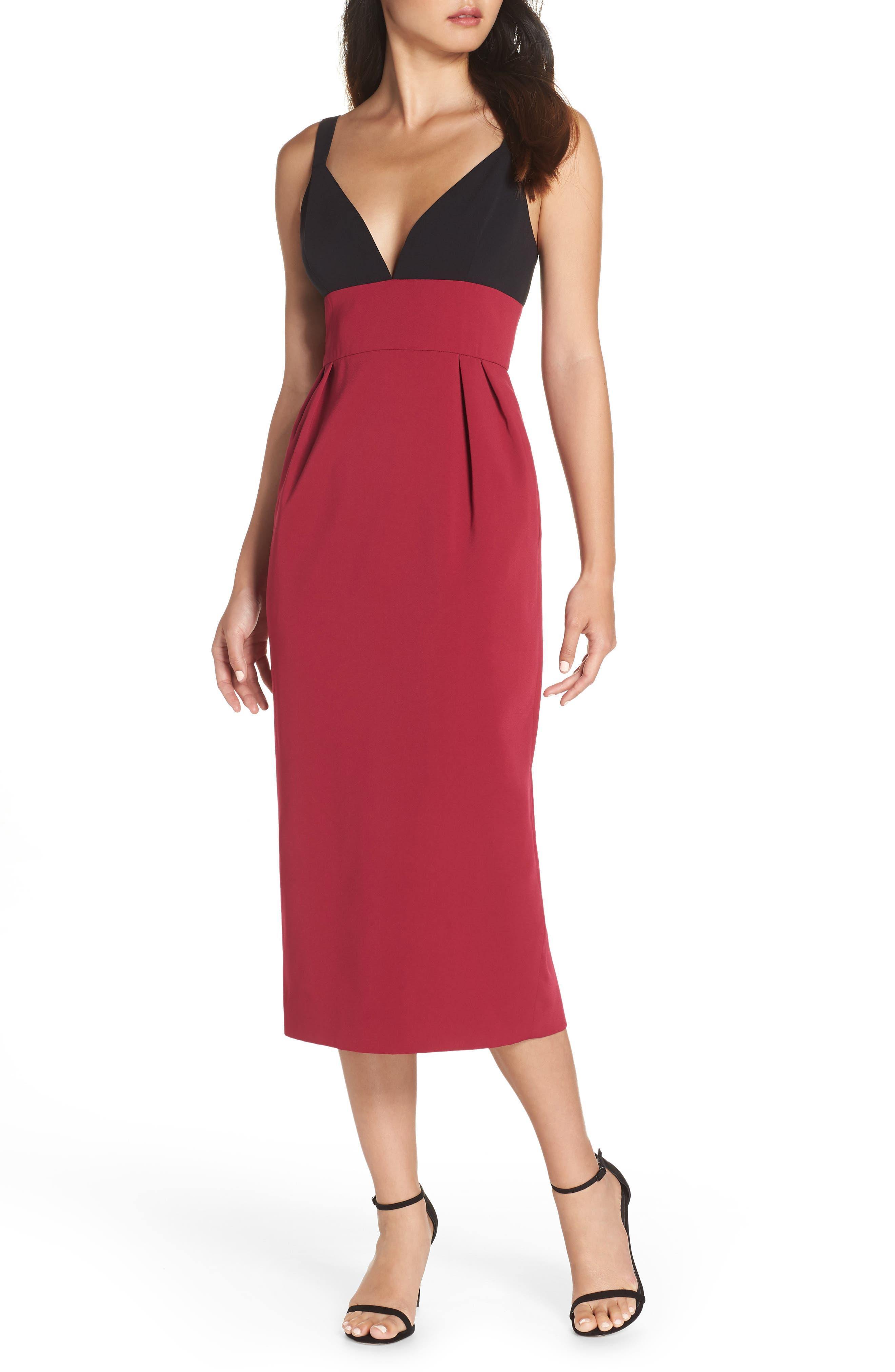 Colorblock Midi Dress,                         Main,                         color, BLACK/ WINEBERRY