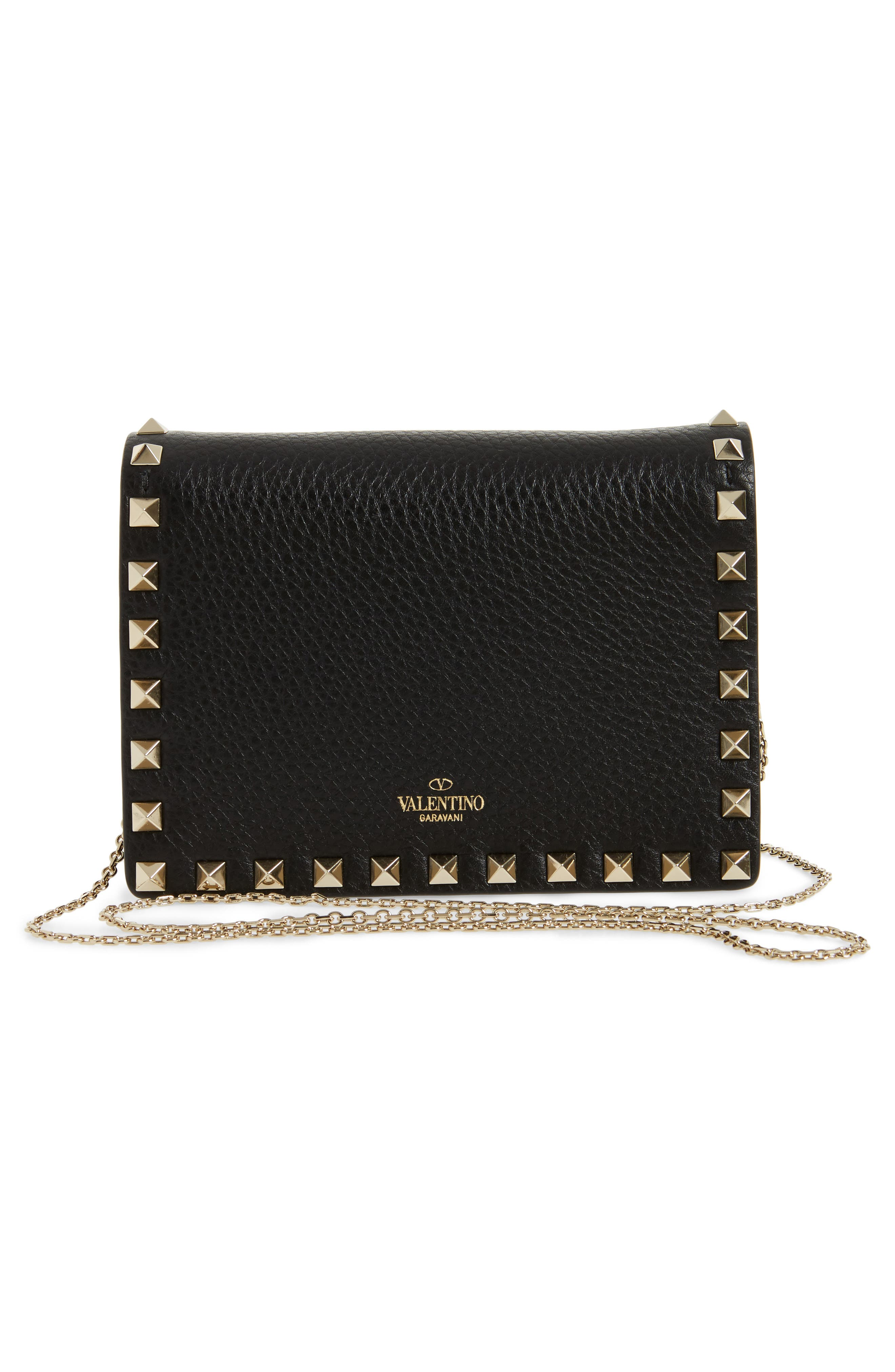Rockstud Leather Pouch Wallet on a Chain,                             Alternate thumbnail 3, color,                             BLACK