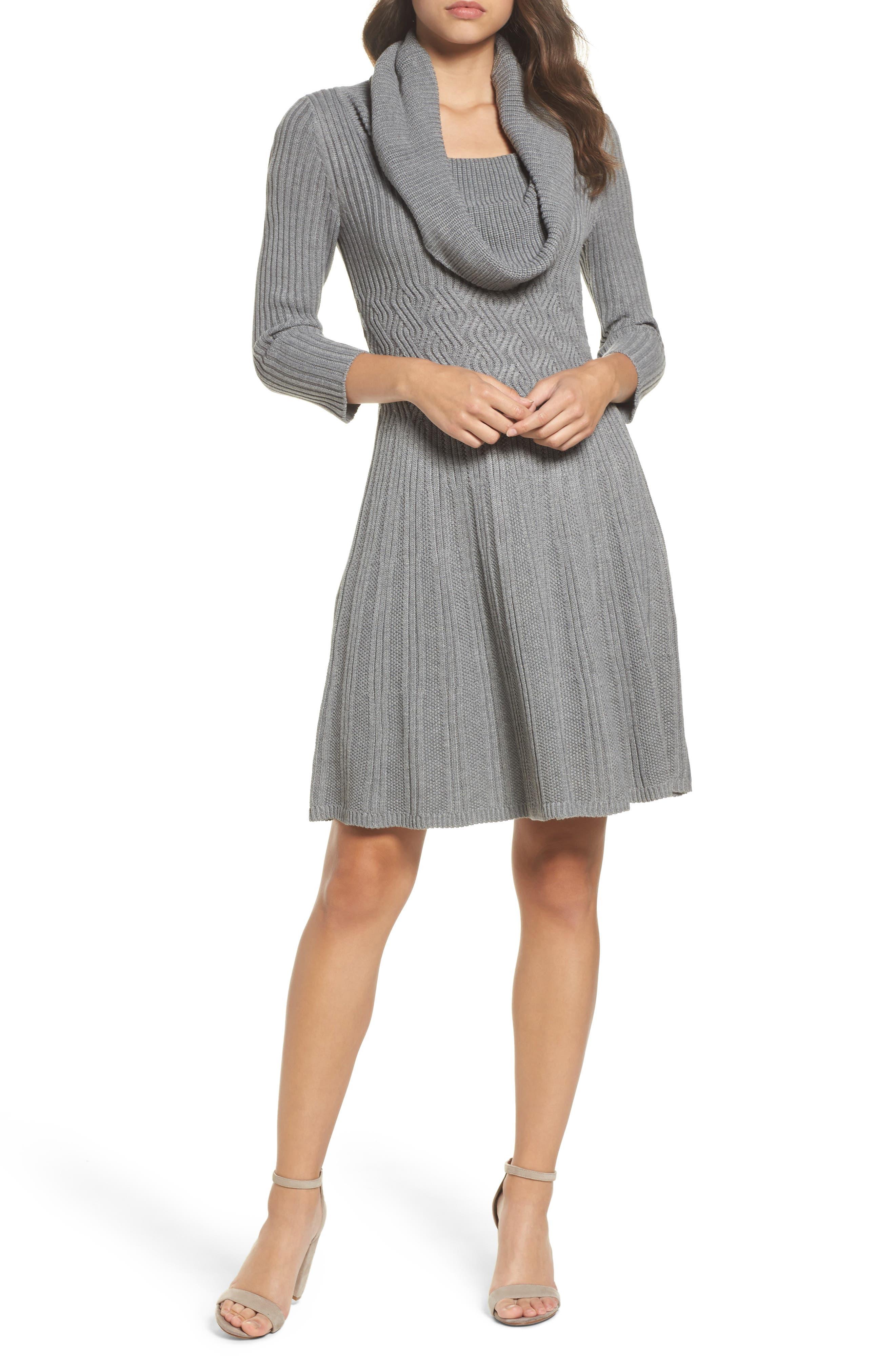 Cowl Neck Sweater Dress,                             Main thumbnail 1, color,                             030