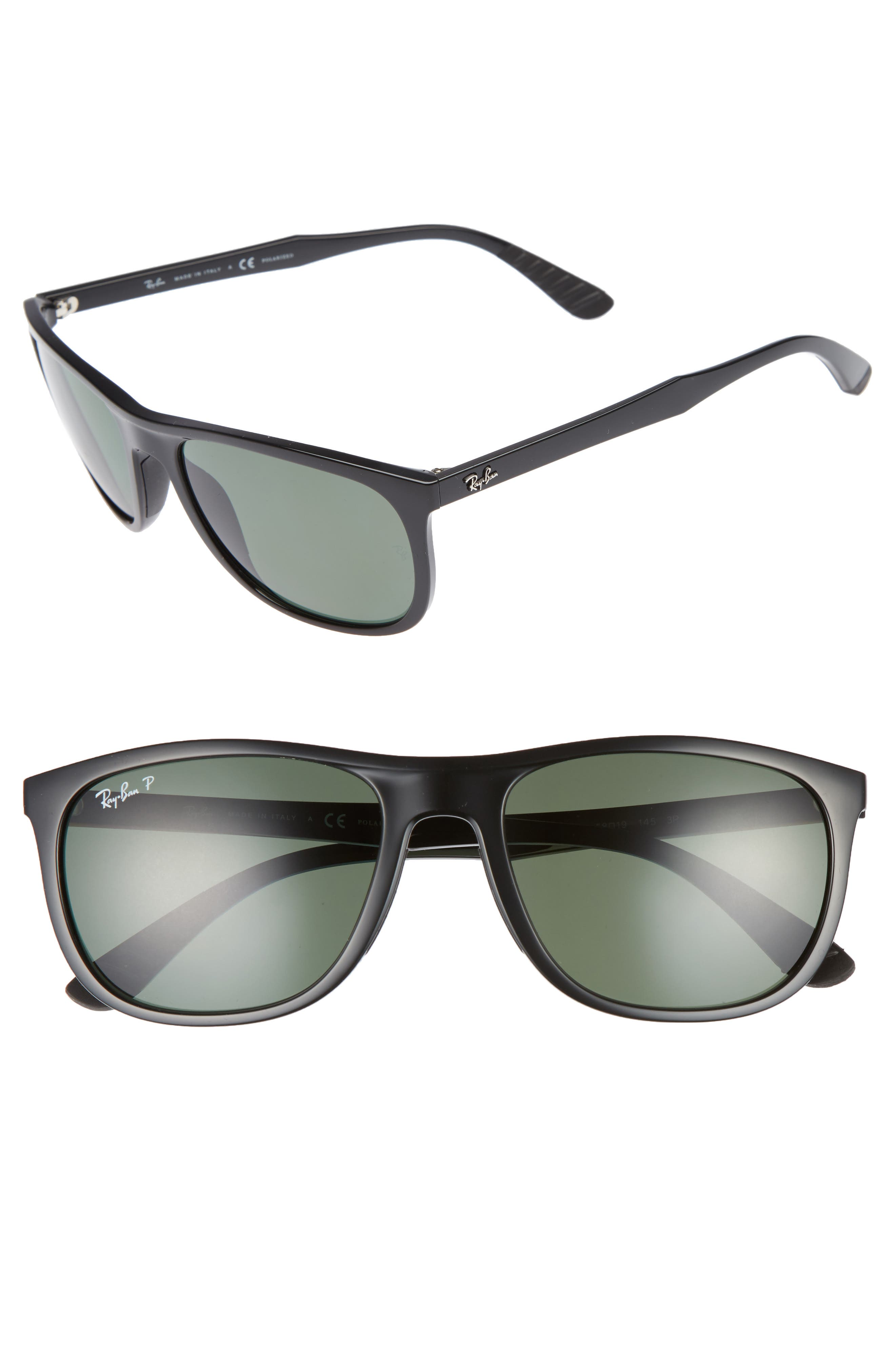 Active Lifestyle 58mm Sunglasses,                         Main,                         color, BLACK POLARIZED