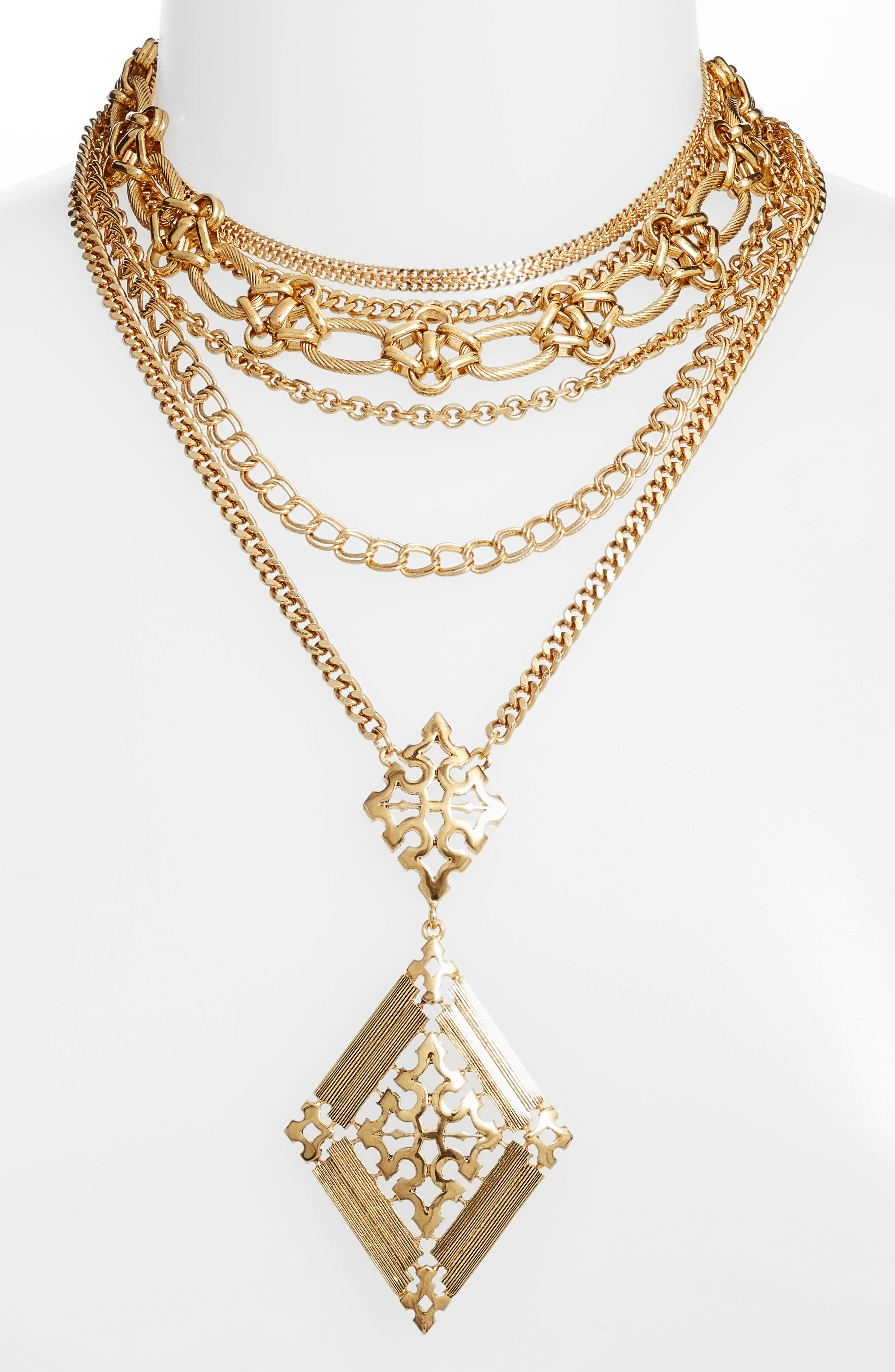 Layered Chain Necklace,                         Main,                         color,