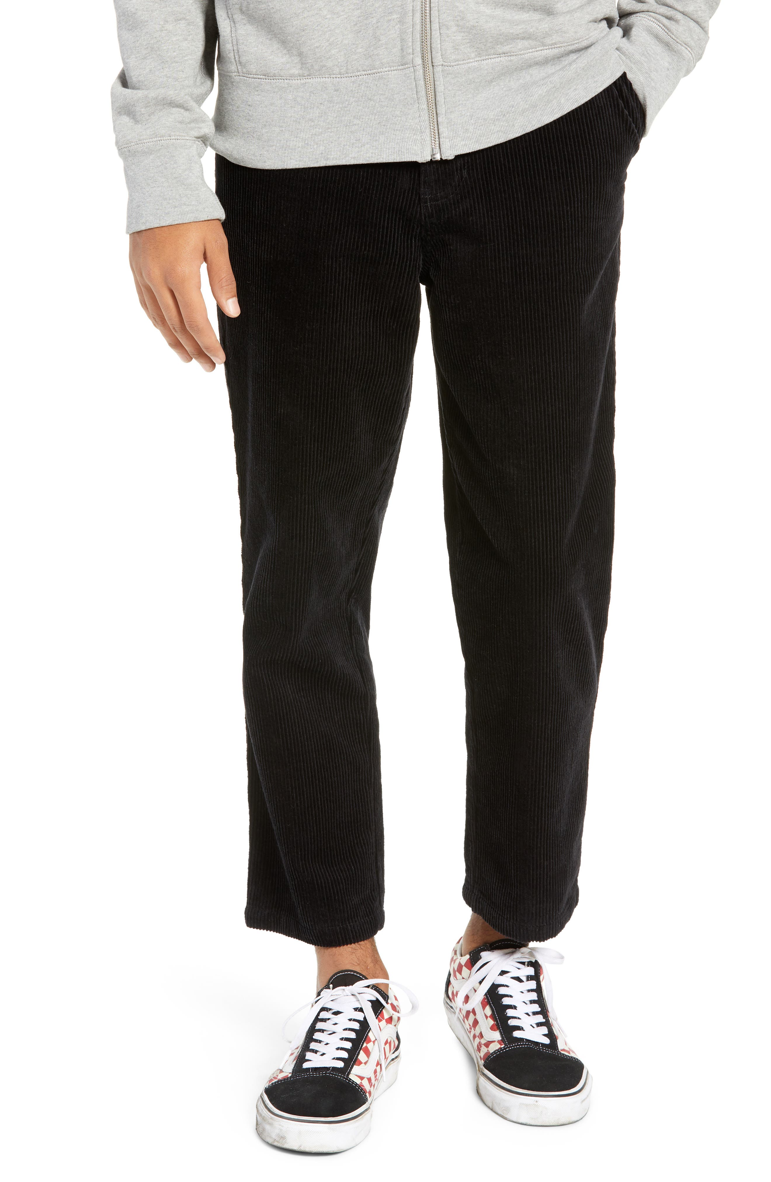 Iggy Wide Wale Cotton Corduroy Straight Leg Pants,                             Main thumbnail 1, color,                             BLACK