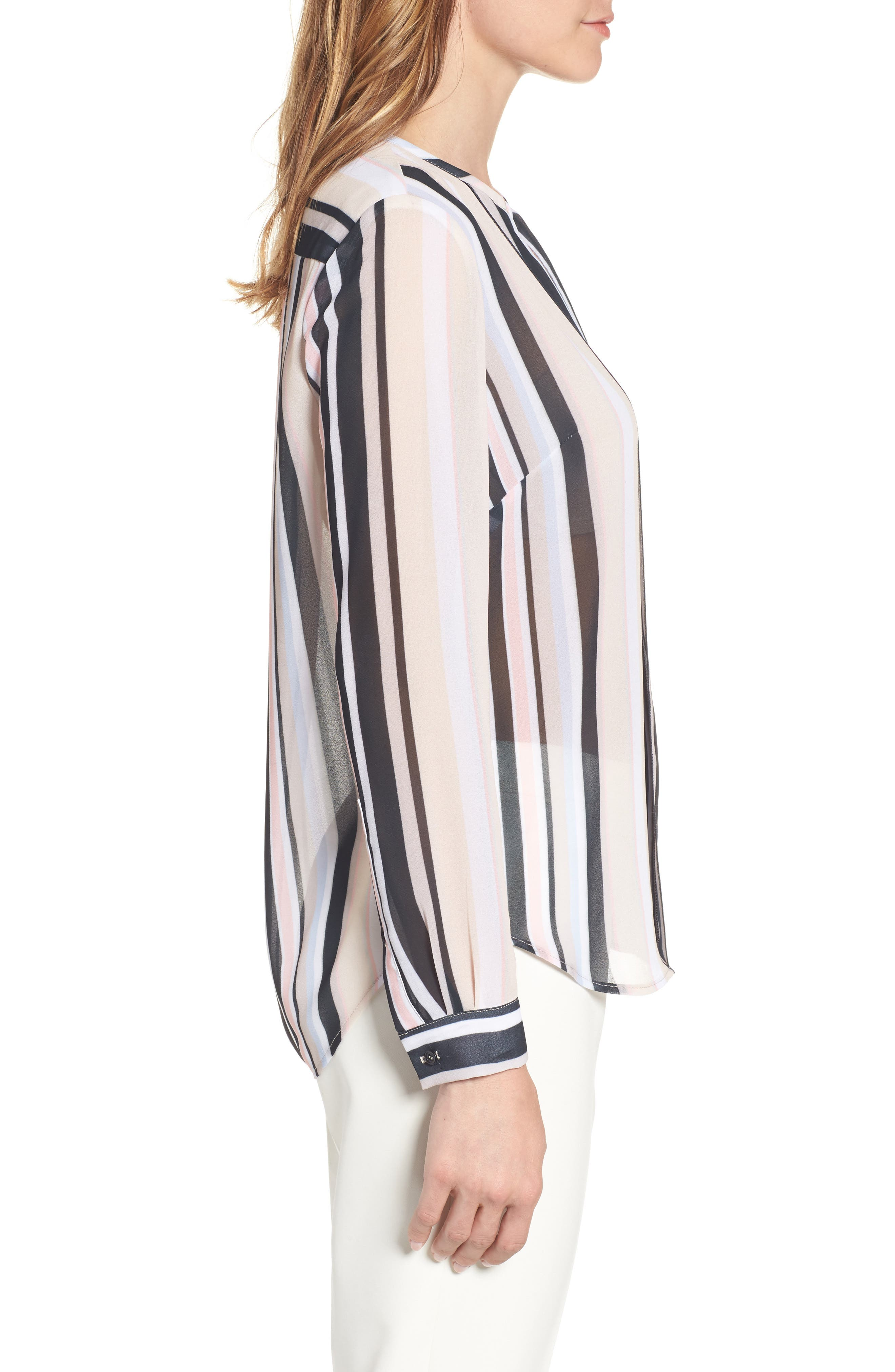 Stripe Sheer Blouse,                             Alternate thumbnail 3, color,                             651