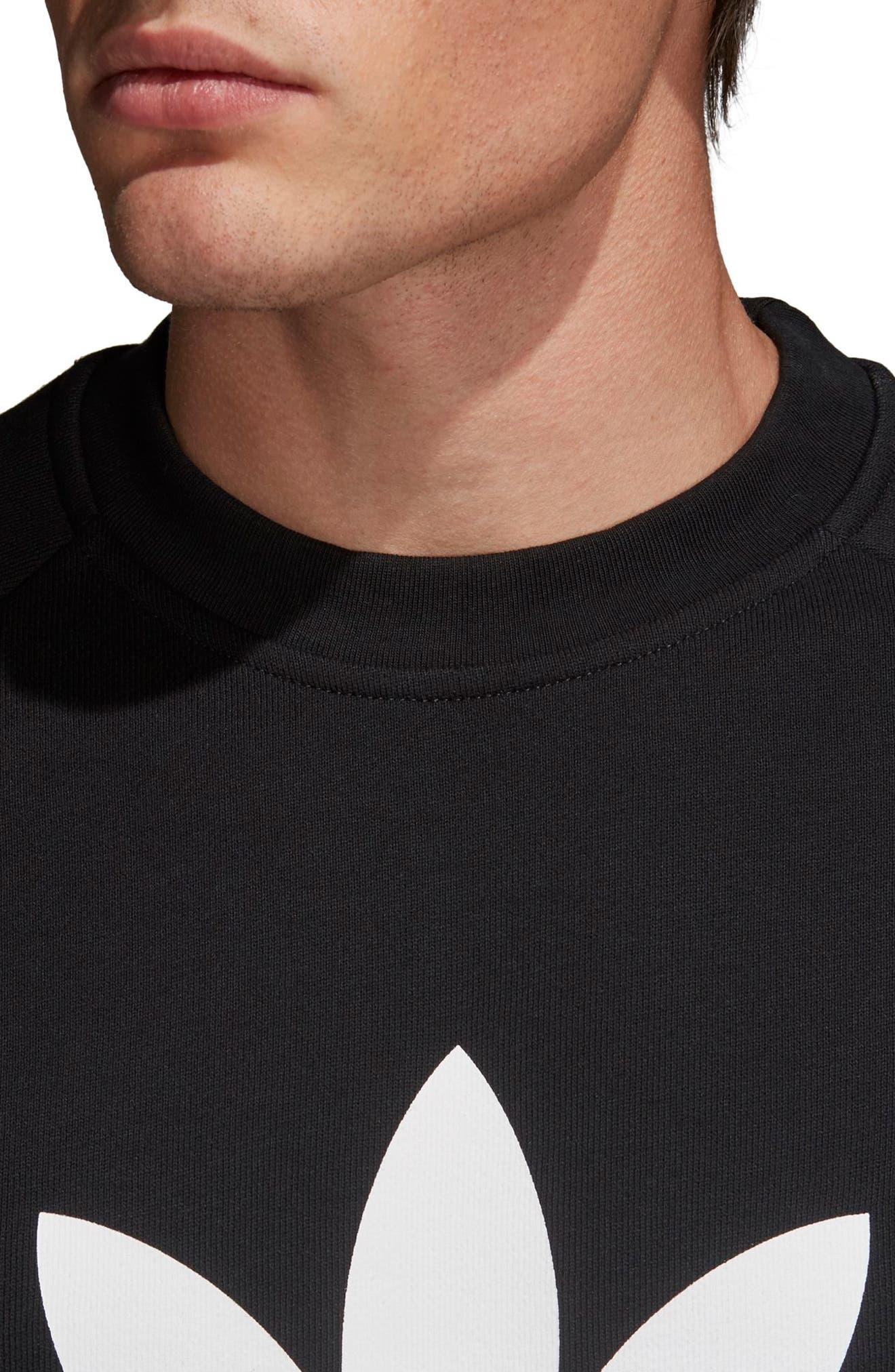Trefoil Sweatshirt,                             Alternate thumbnail 4, color,                             BLACK