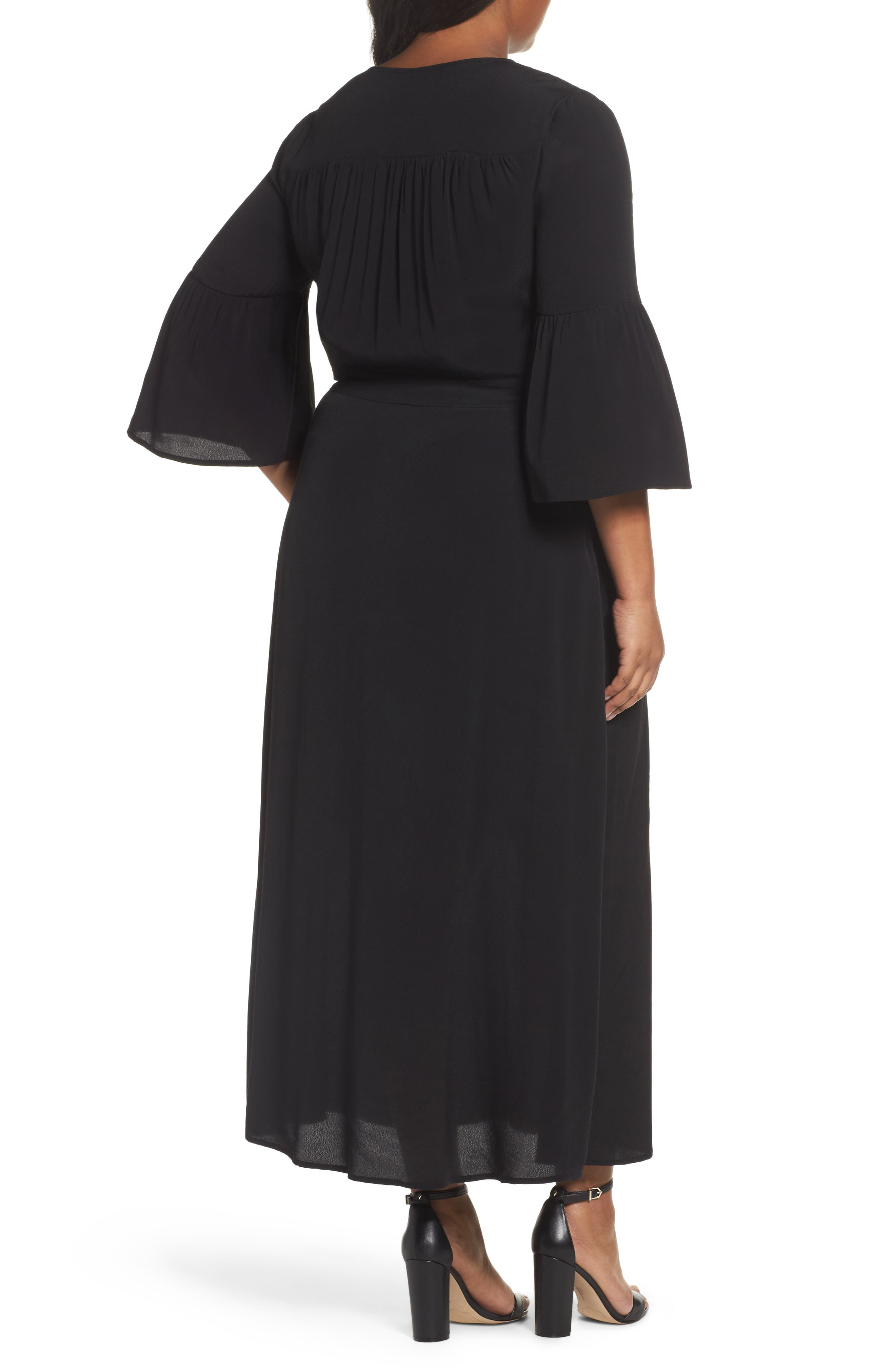 Bell Sleeve A-Line Maxi Dress,                             Alternate thumbnail 2, color,                             001