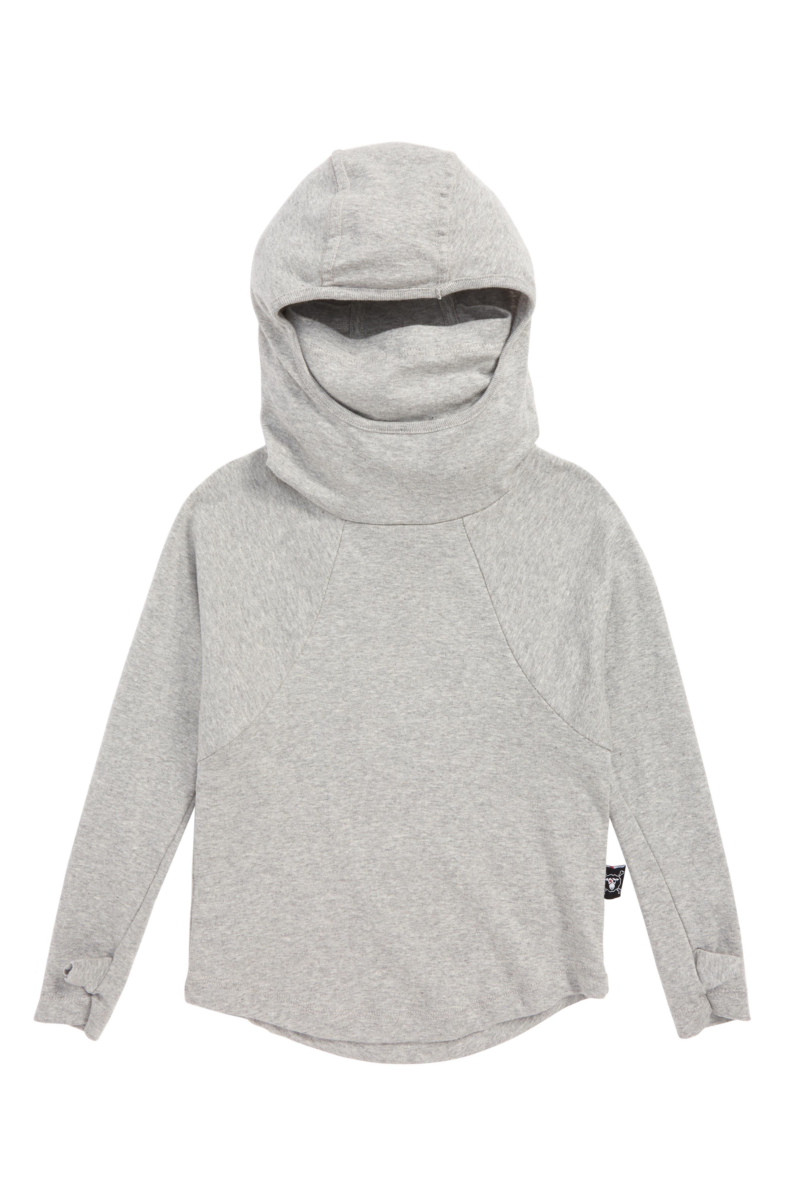 Ninja Hooded Shirt,                             Main thumbnail 1, color,                             HEATHER GREY