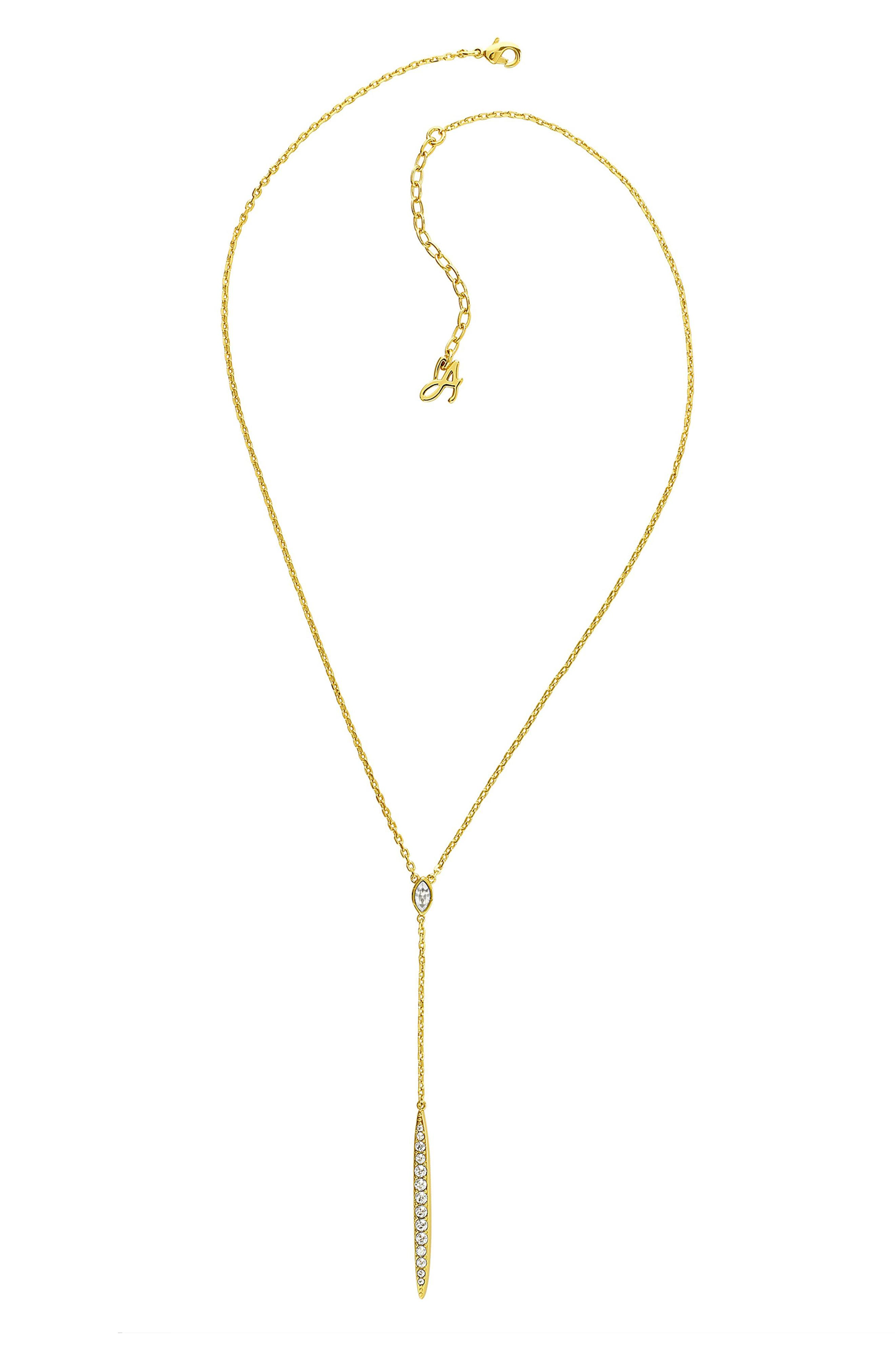 ADORE Pave Crystal Bar Necklace in Gold