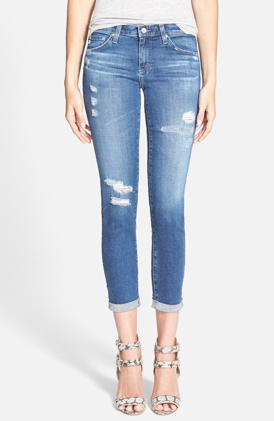 'The Stilt' Roll Cuff Skinny Jeans,                             Main thumbnail 1, color,                             400
