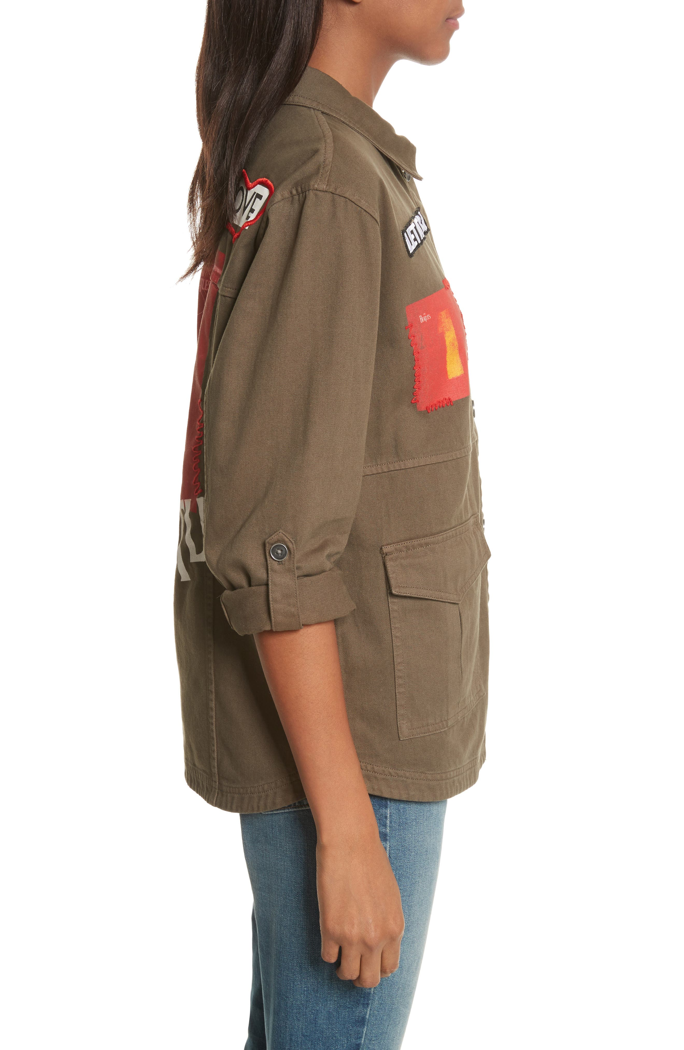 AO x The Beatles Charline Oversize Patch Military Jacket,                             Alternate thumbnail 3, color,                             315