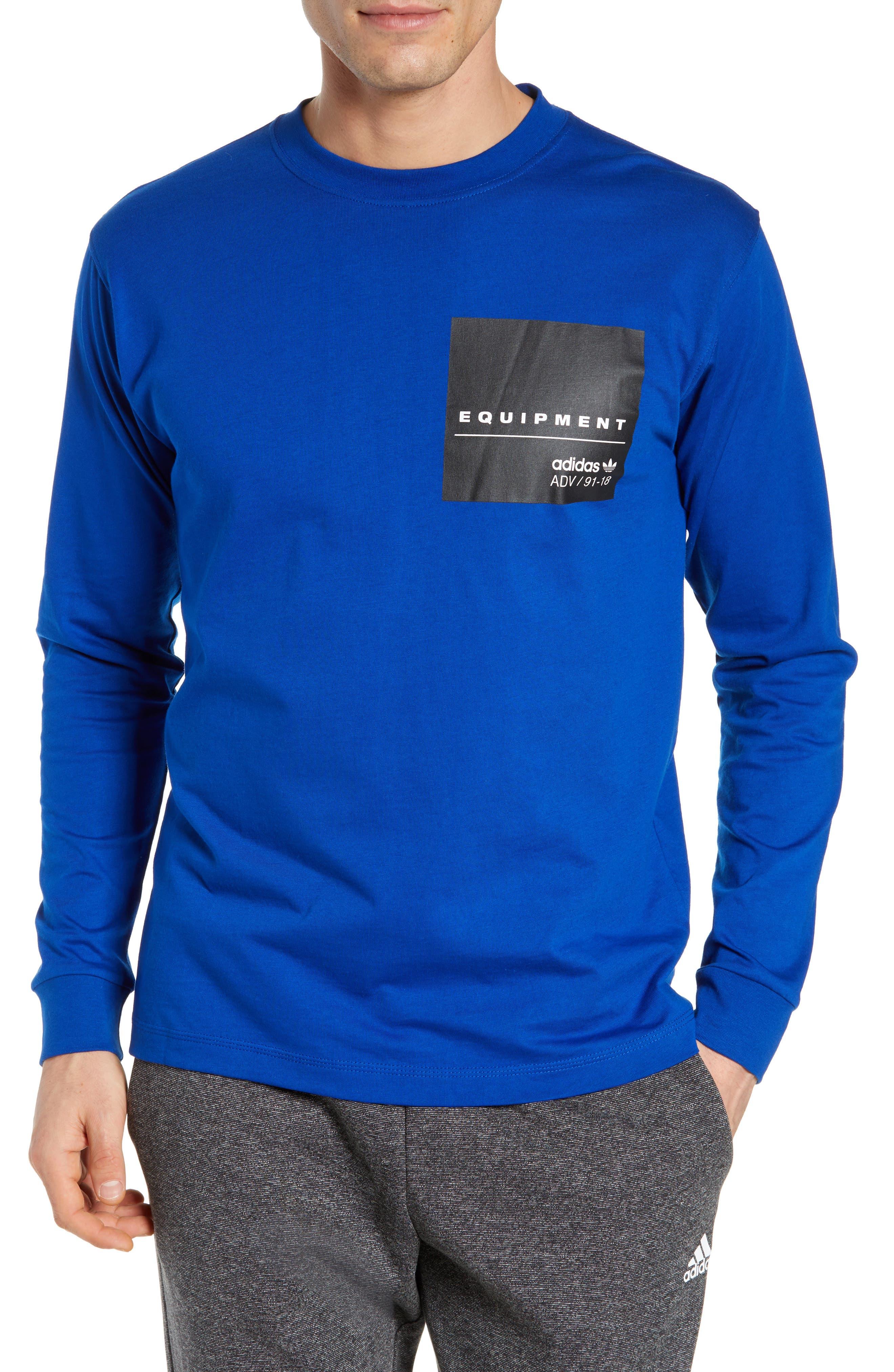 Adidas Eqt Long Sleeve Logo T-Shirt, Blue