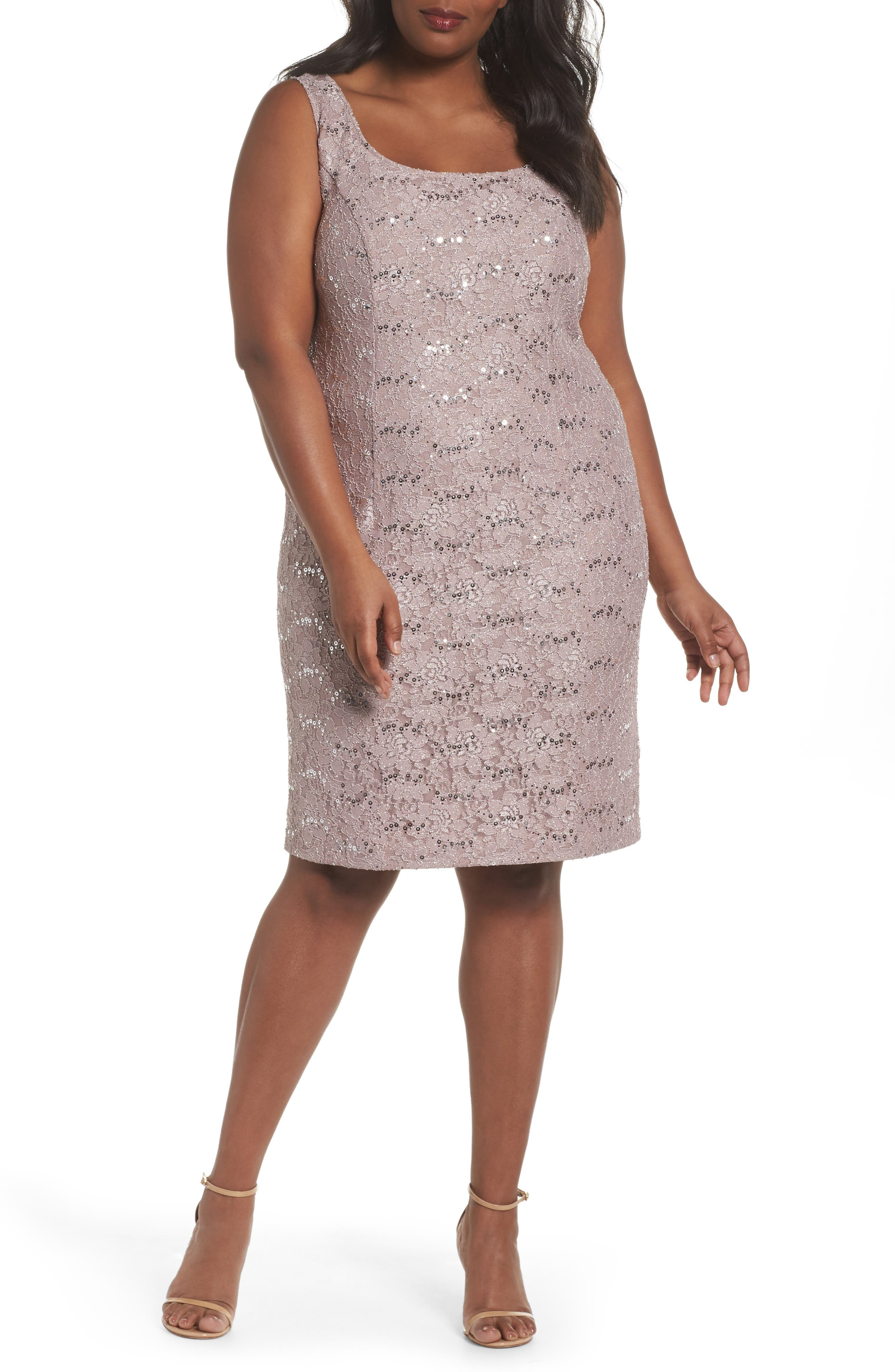 Sequin Lace Sheath Dress with Jacket,                             Alternate thumbnail 3, color,                             650