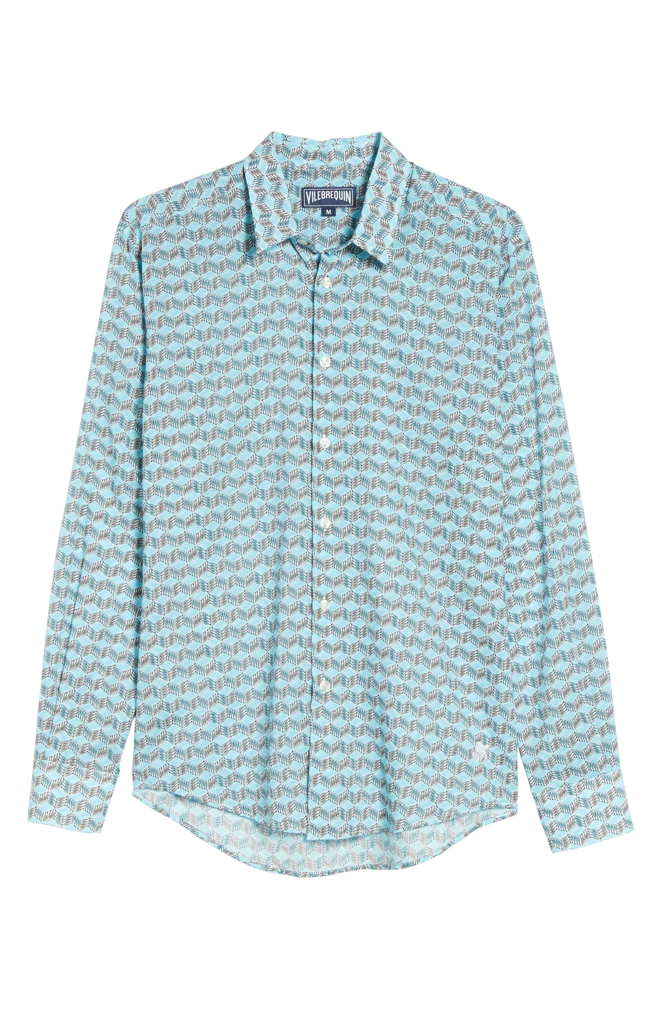 Cubed Fish Cotton Voile Sport Shirt,                             Alternate thumbnail 6, color,                             AZURE