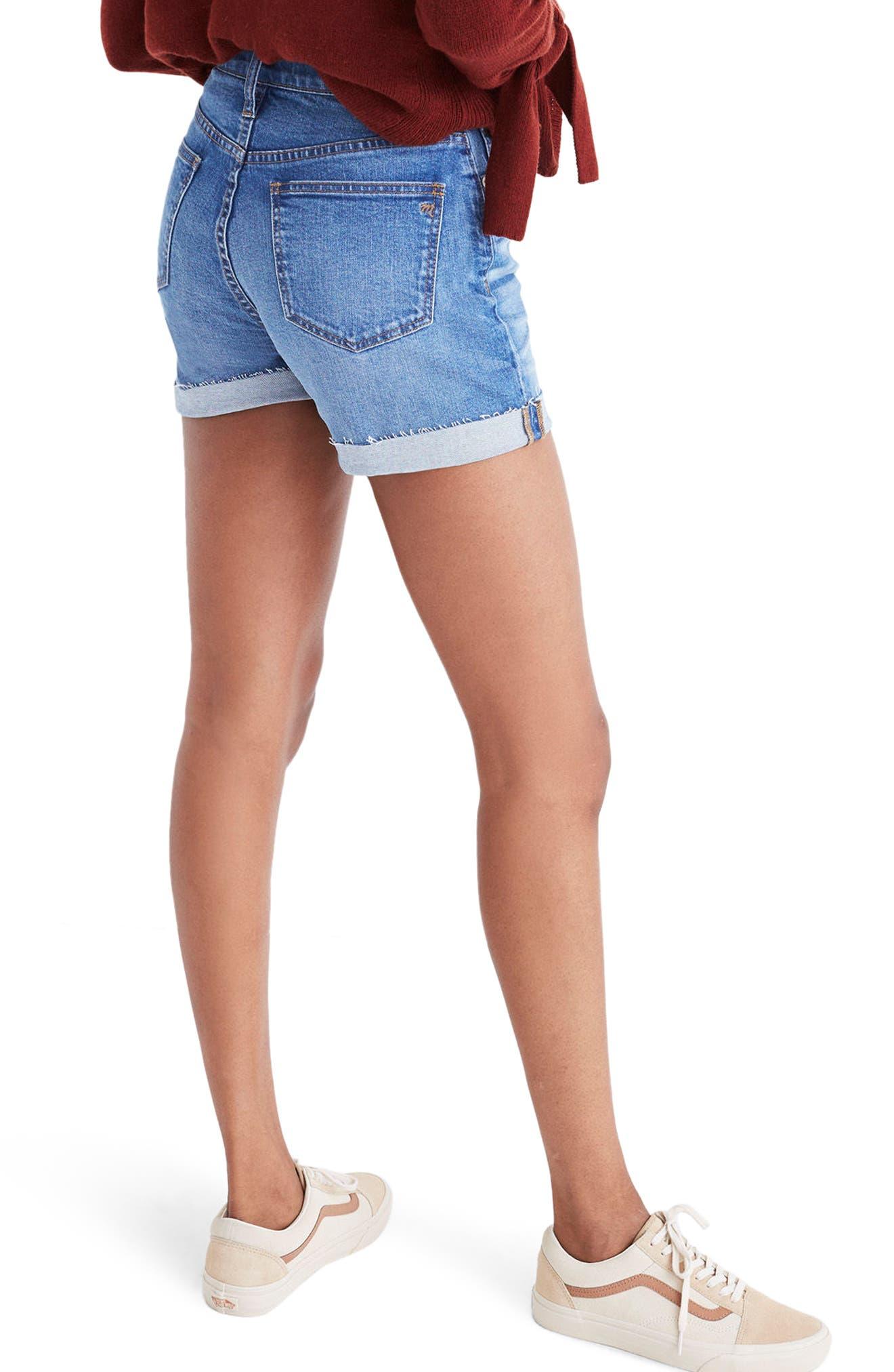 High Rise Denim Shorts,                             Alternate thumbnail 3, color,                             400