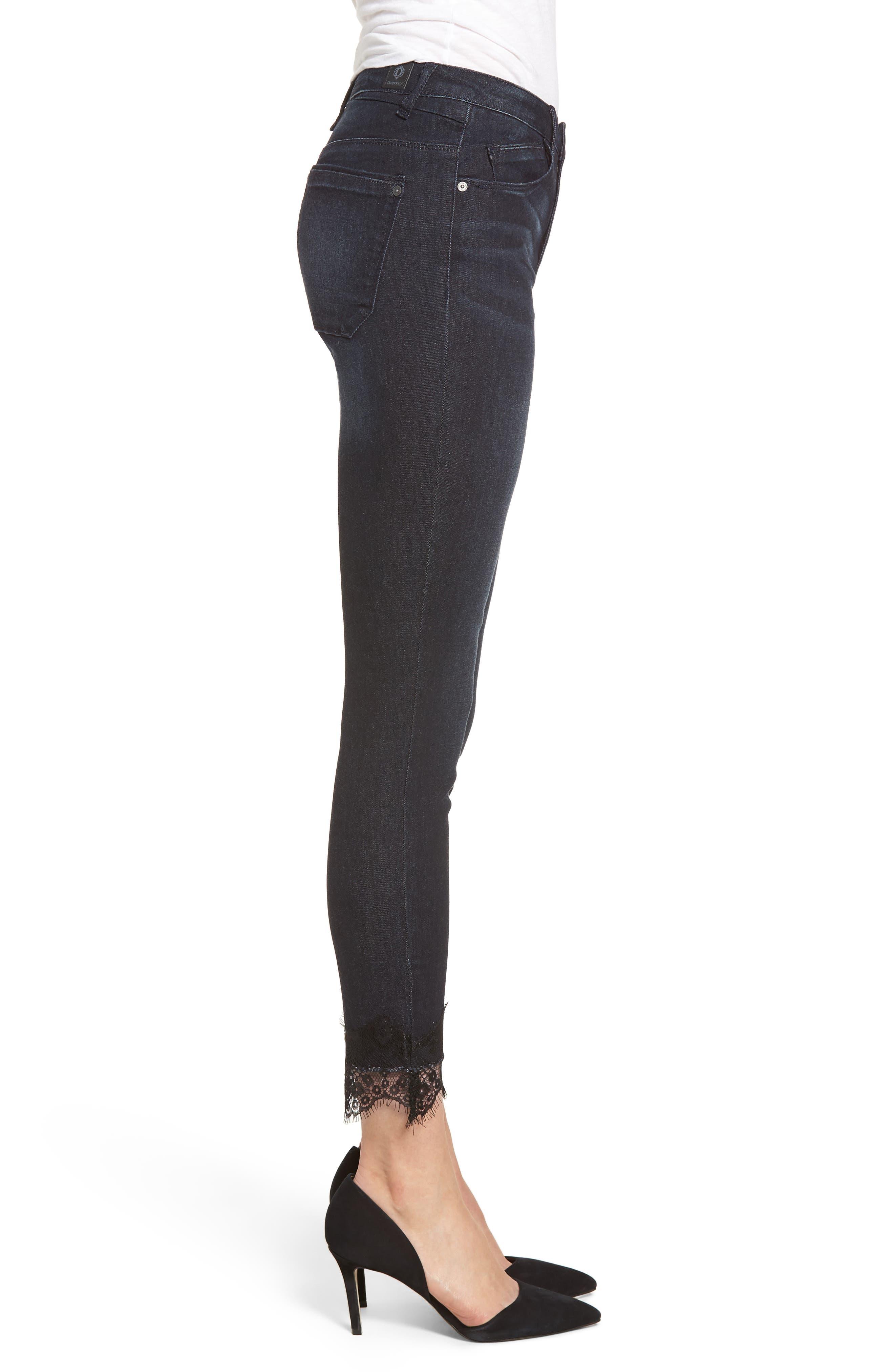 WIT & WISDOM,                             High Waist Eyelash Lace Ankle Skimmer Jeans,                             Alternate thumbnail 3, color,                             402