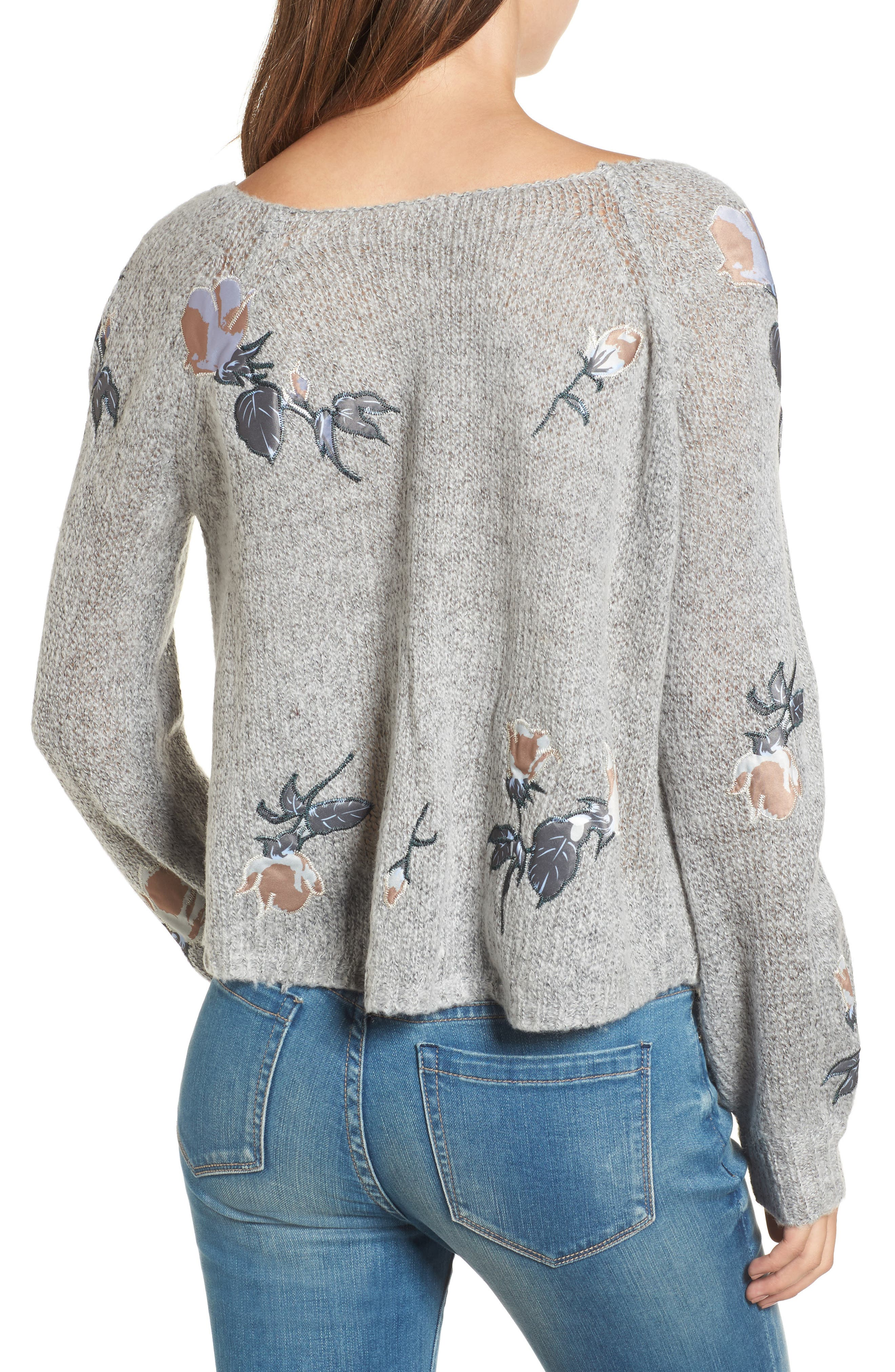 Embroidered Crop Sweater,                             Alternate thumbnail 2, color,                             020