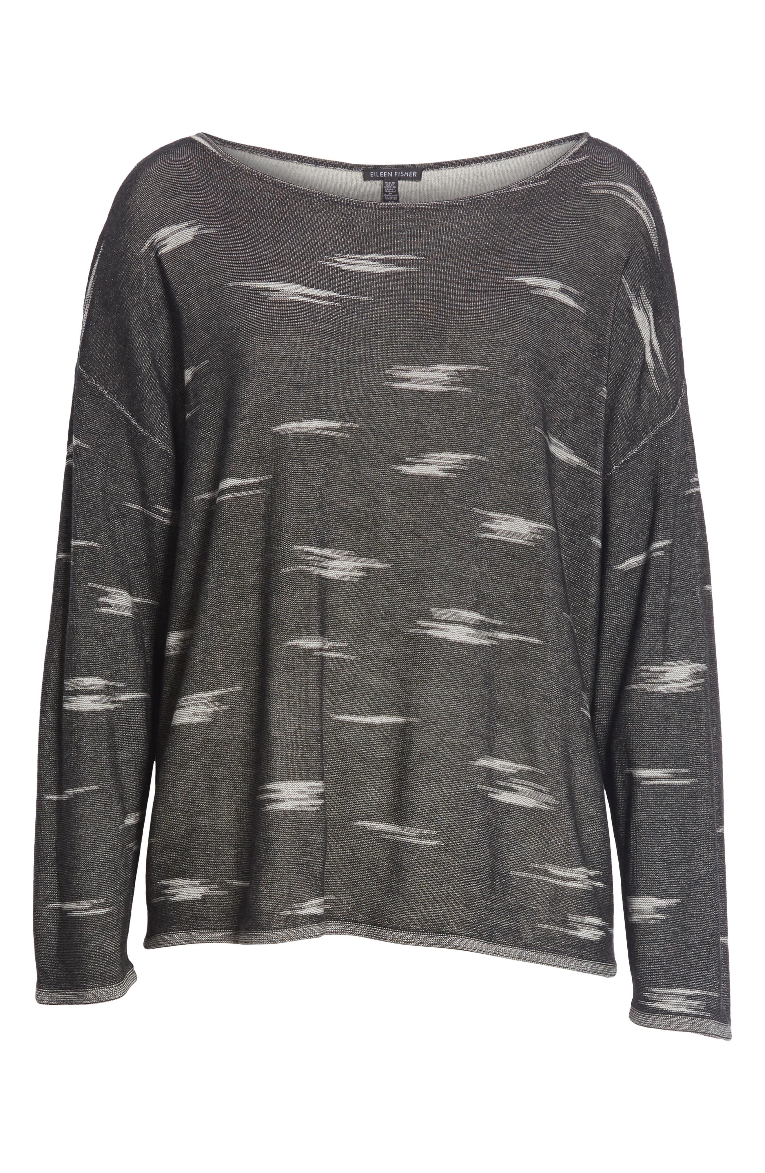 Bateau Neck Sweater,                             Alternate thumbnail 6, color,                             001