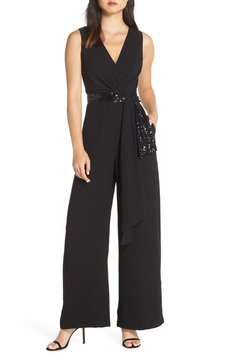 Sequin Wrap Detail Jumpsuit,                         Main,                         color, BLACK