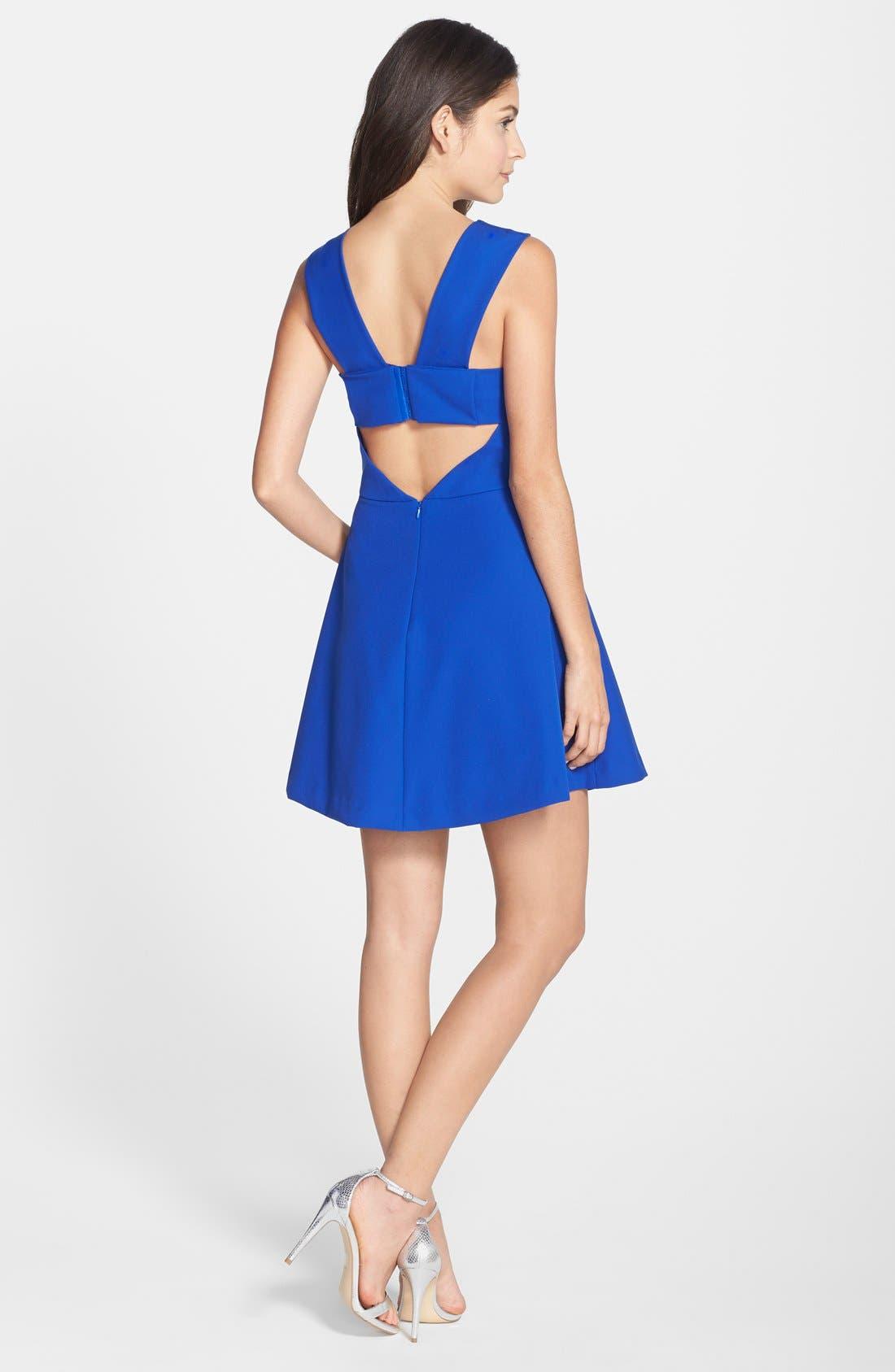 Bianca Back Cutout Fit & Flare Dress,                             Alternate thumbnail 10, color,                             COBALT