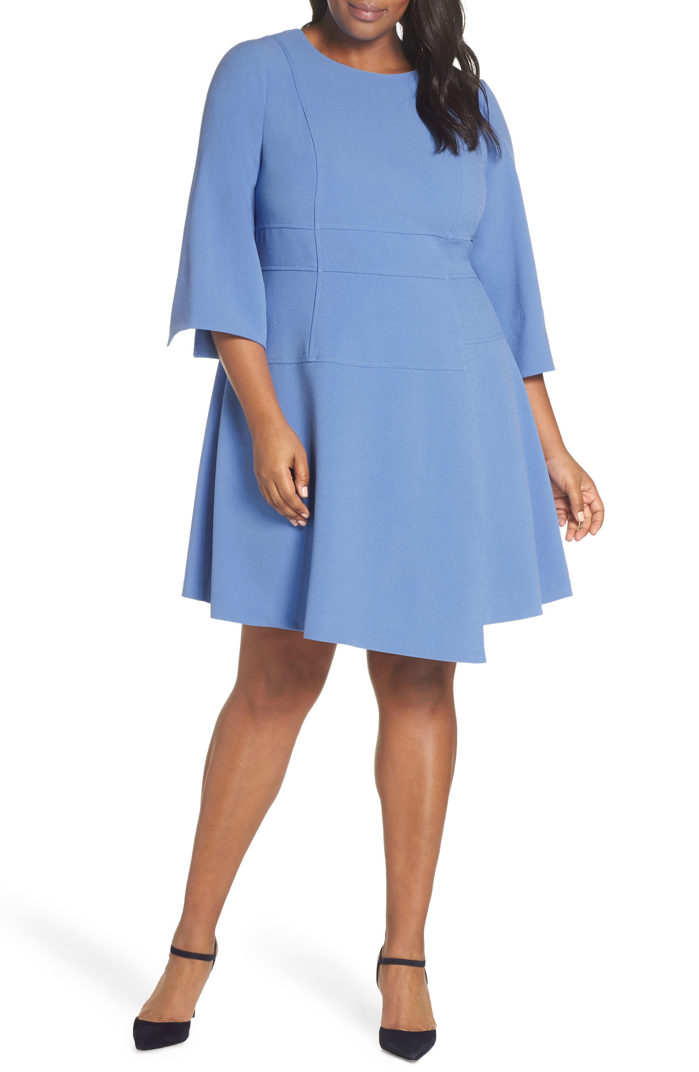 Plus Size Vince Camuto Crepe A-Line Dress, Blue
