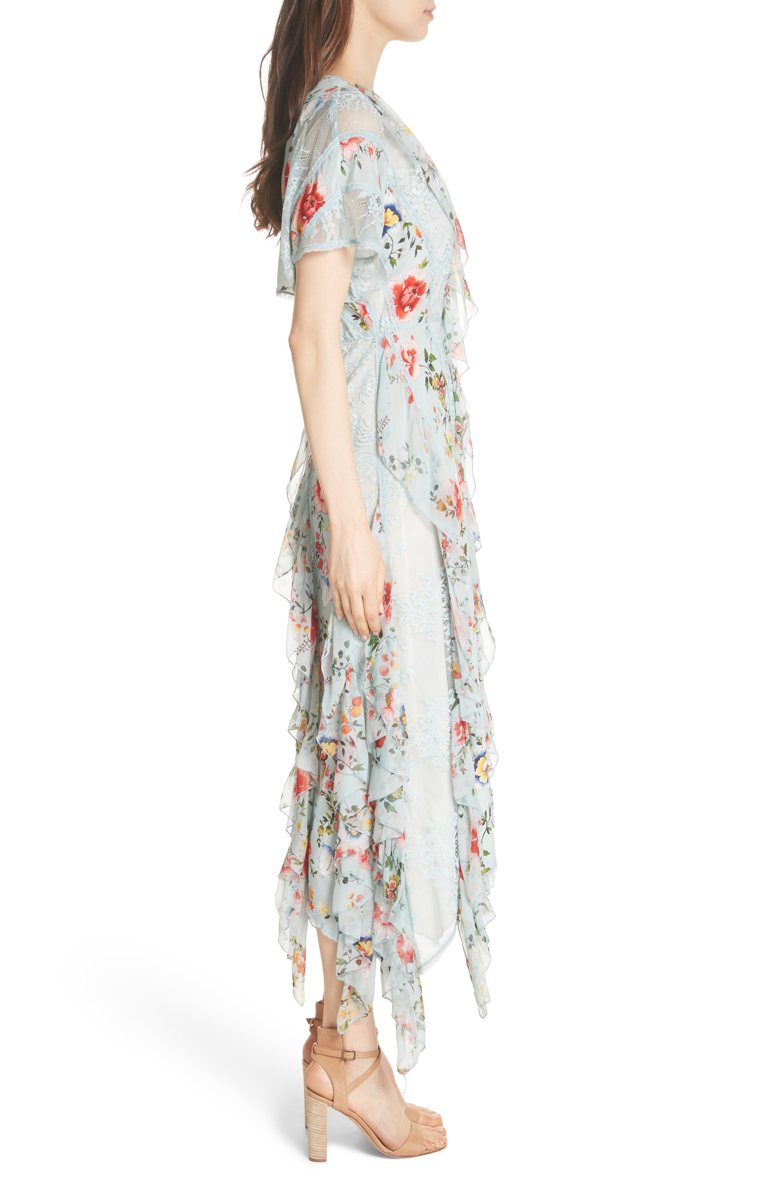 Kadence Ruffled Silk & Lace Midi Dress,                             Alternate thumbnail 3, color,