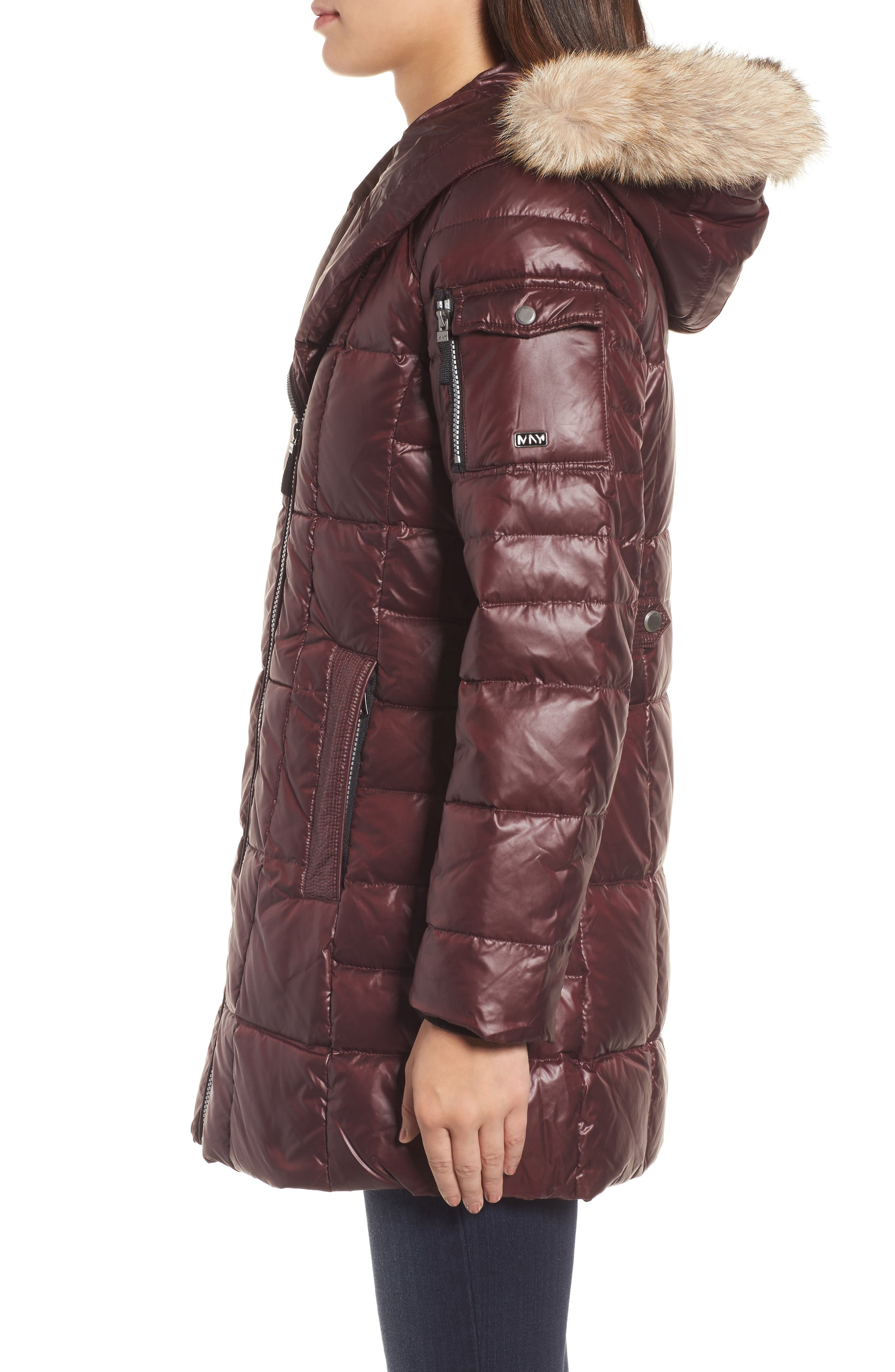 Down & Feather Fill Coat with Genuine Coyote Fur,                             Alternate thumbnail 9, color,