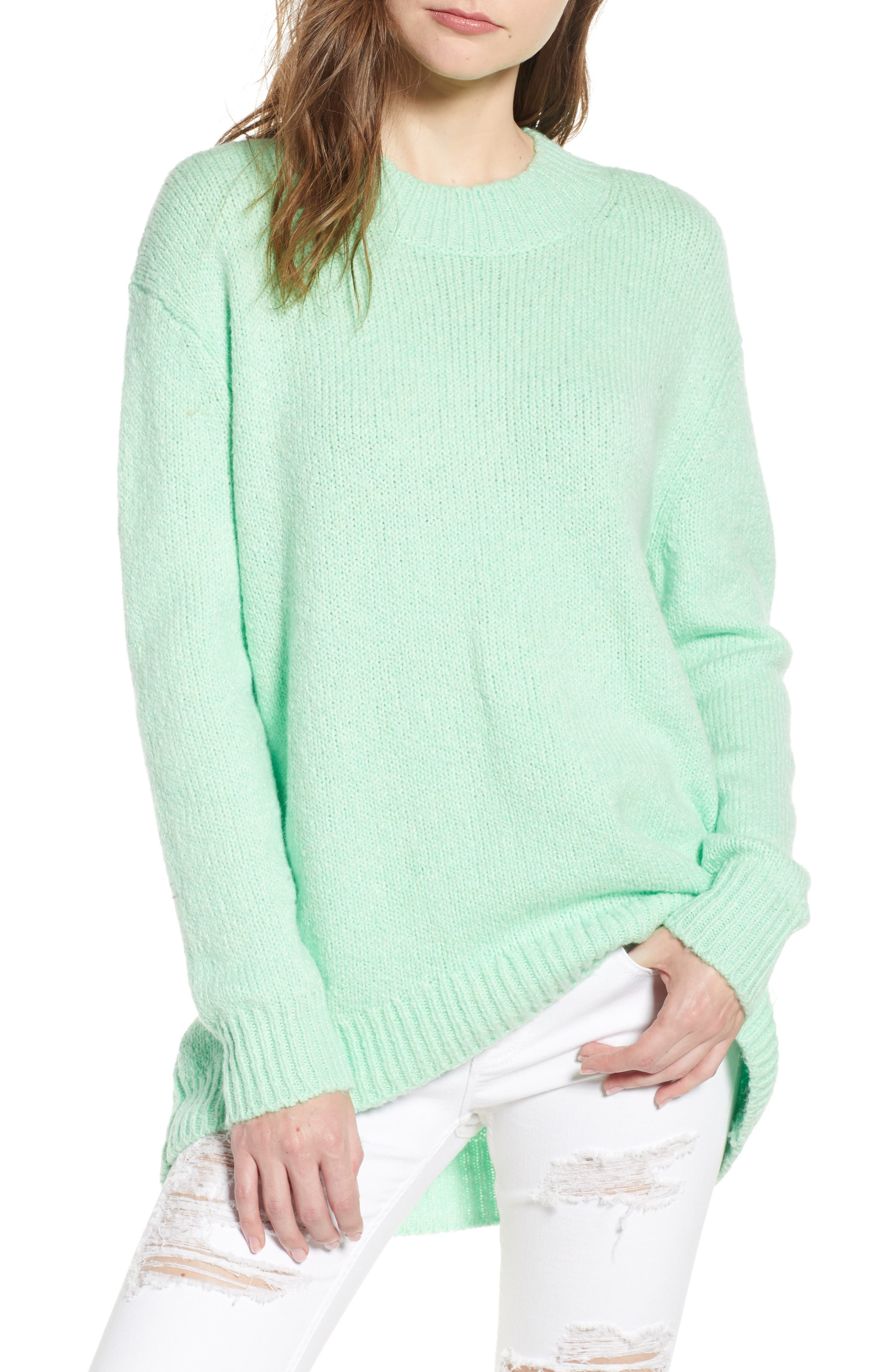 High-Low Sweater,                         Main,                         color, GREEN ASH