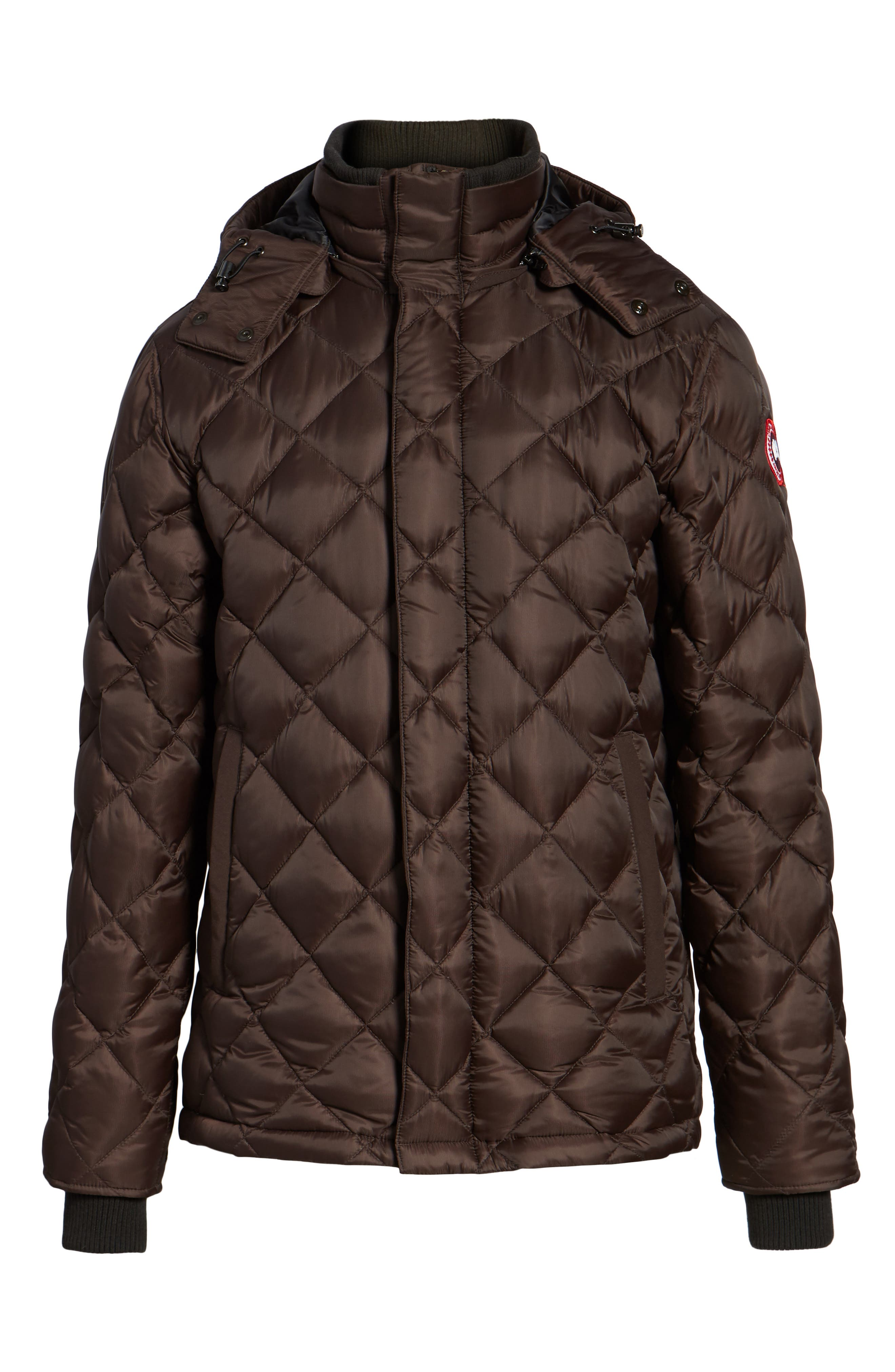 Hendriksen Quilted Down Coat,                             Alternate thumbnail 5, color,                             CHARRED WOOD