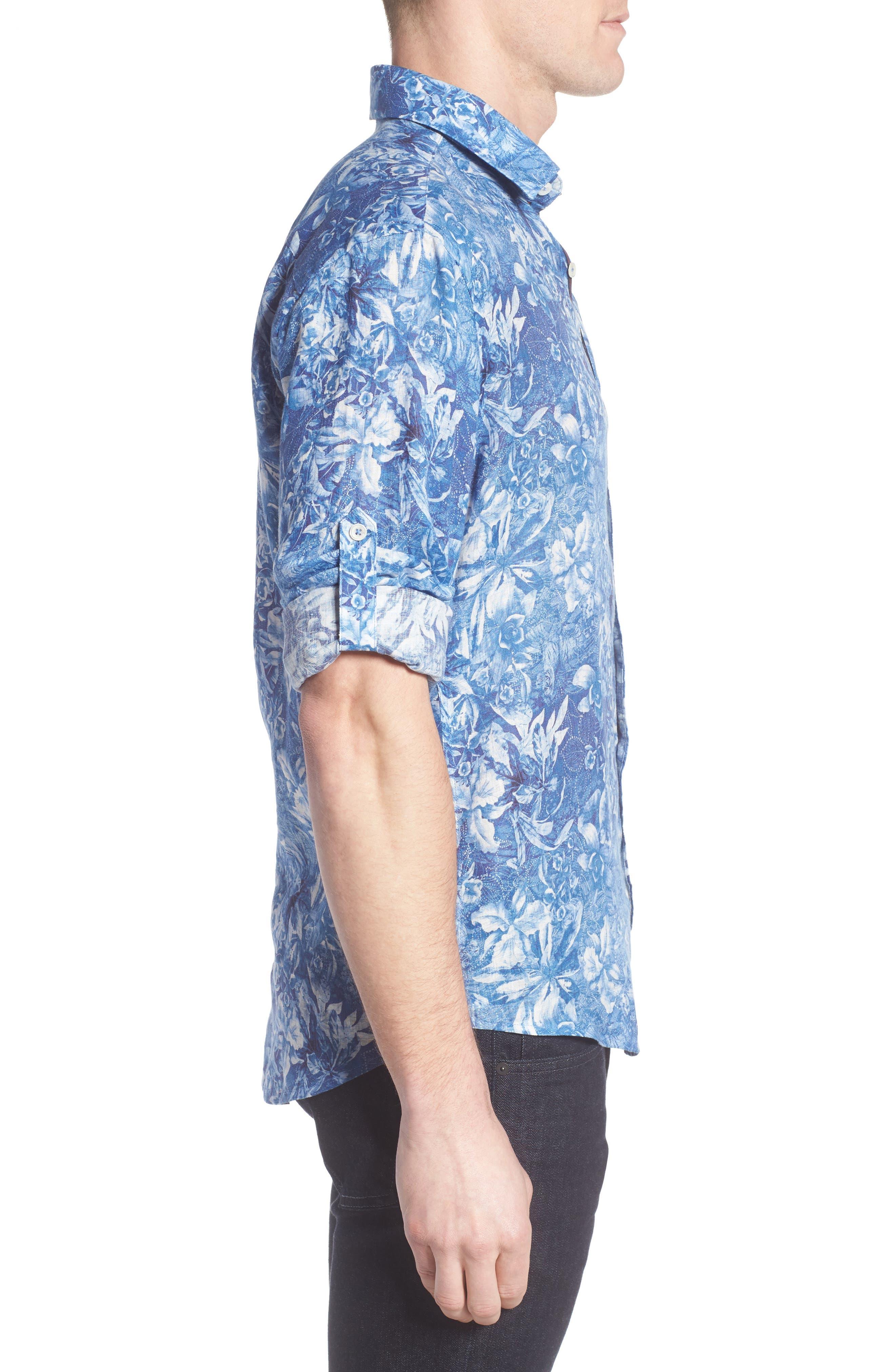 Shaped Fit Floral Linen Sport Shirt,                             Alternate thumbnail 3, color,                             420