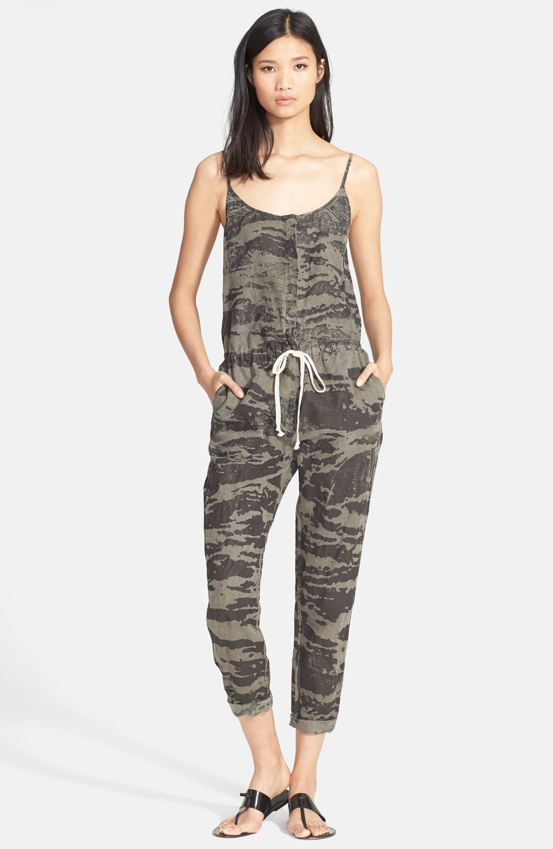 ENZA COSTA,                             Camo Print Linen Jumpsuit,                             Main thumbnail 1, color,                             020