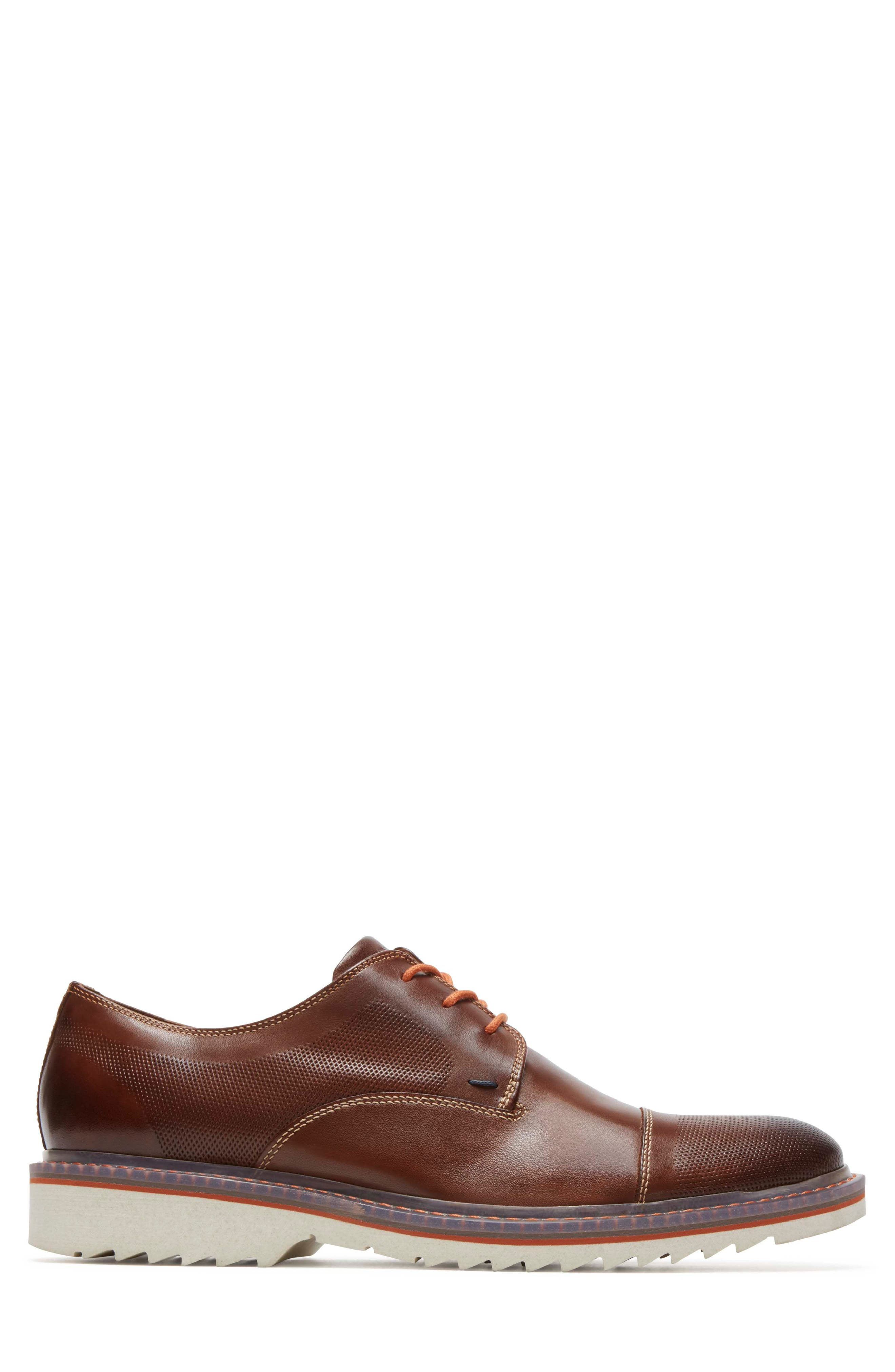 Jaxson Cap Toe Derby,                             Alternate thumbnail 3, color,                             BROWN LEATHER