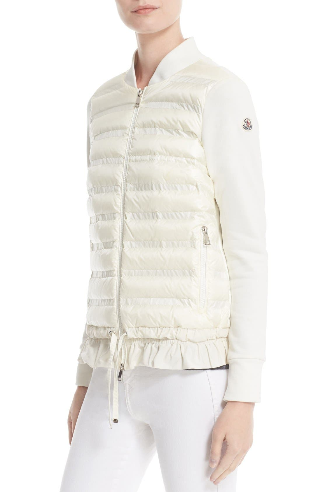 Maglia Quilted Down Front Tricot Bomber,                             Alternate thumbnail 7, color,                             NATURAL