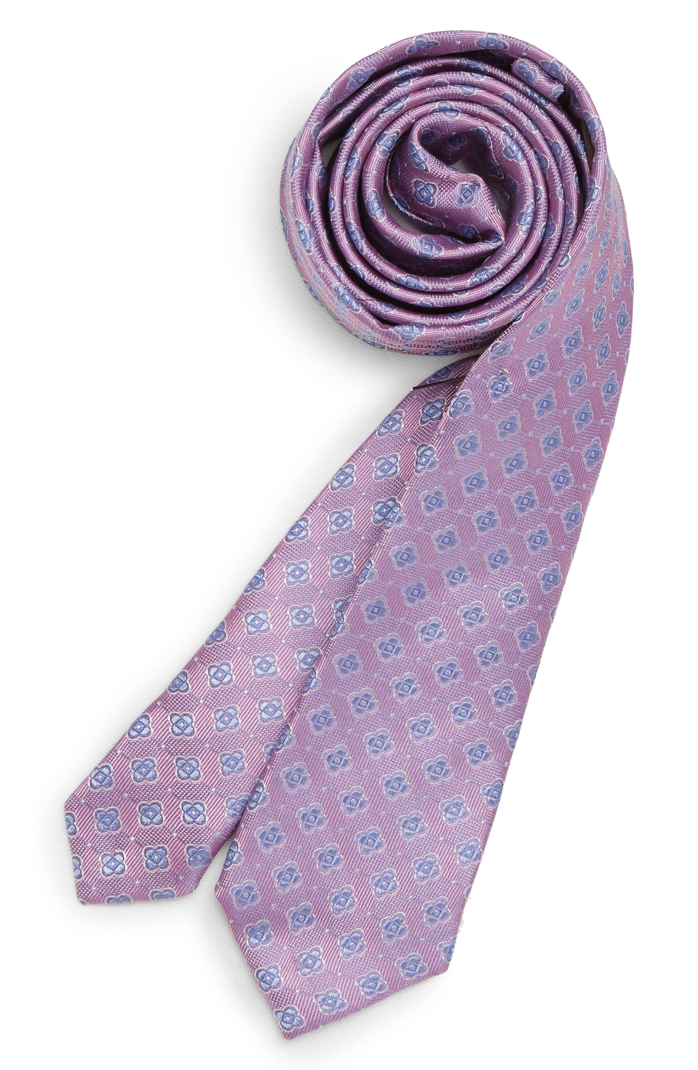 Medallion Silk Tie,                         Main,                         color, LILAC