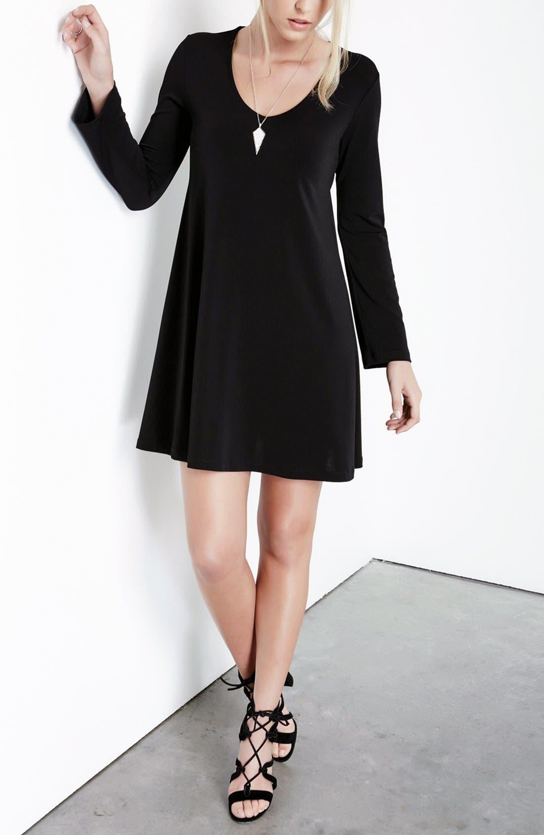 'Taylor' Long Sleeve A-Line Dress,                             Alternate thumbnail 4, color,                             001