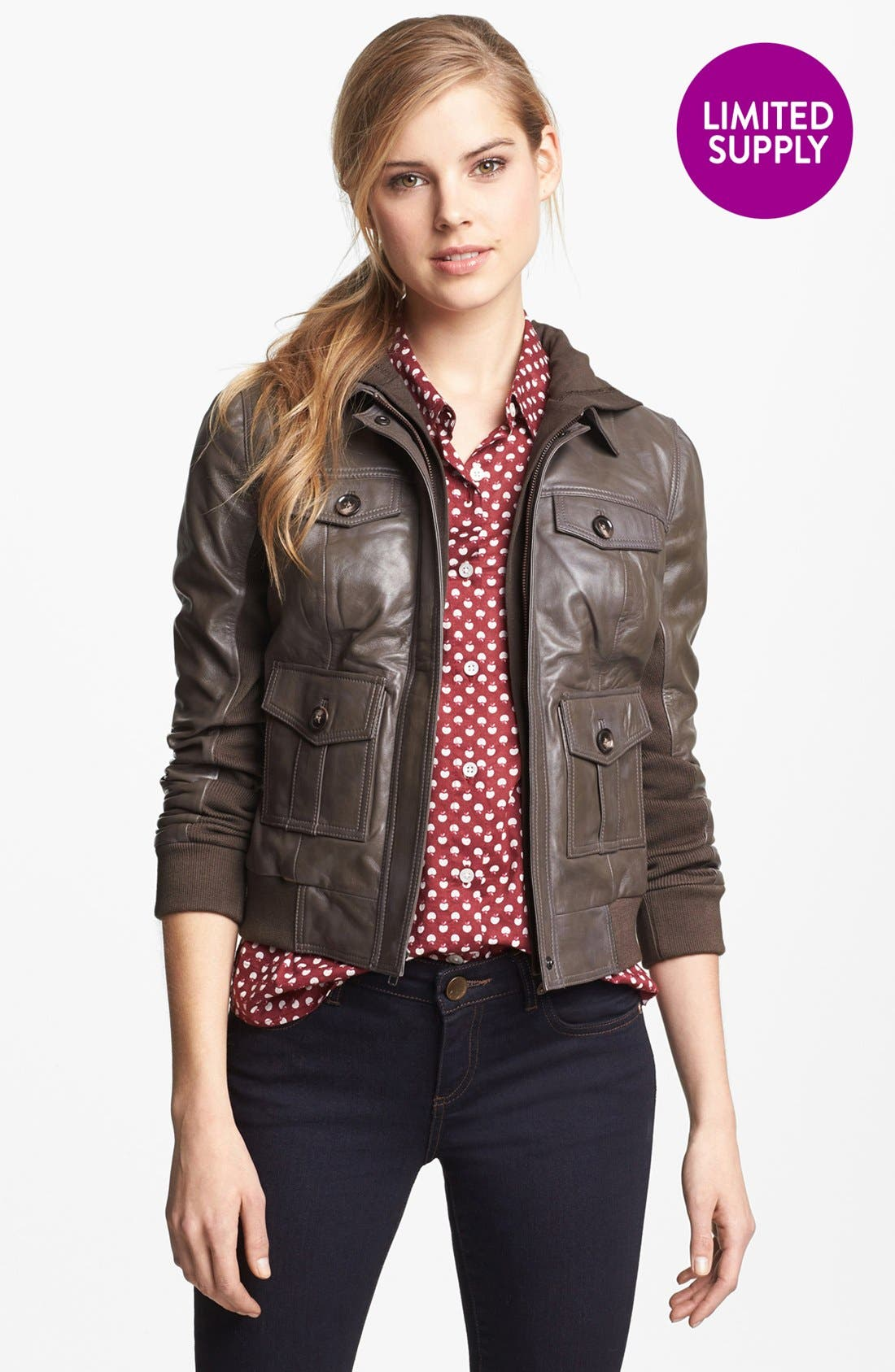 Hooded Leather Jacket,                             Alternate thumbnail 5, color,                             200