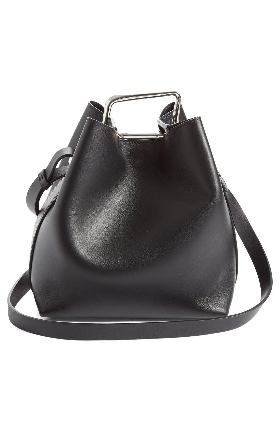 'Mini Quill' Leather Bucket Bag,                             Alternate thumbnail 2, color,                             011