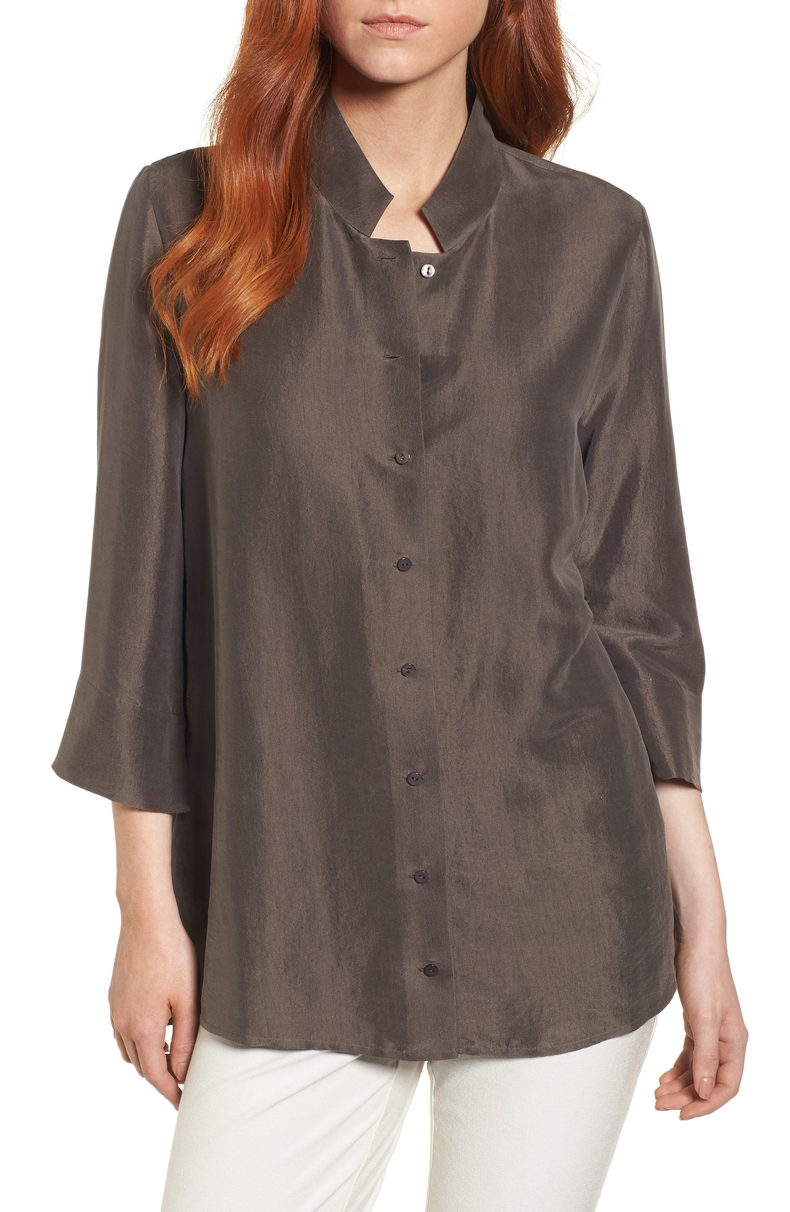 Silk Georgette Crepe Stand Collar Shirt,                             Main thumbnail 1, color,                             024