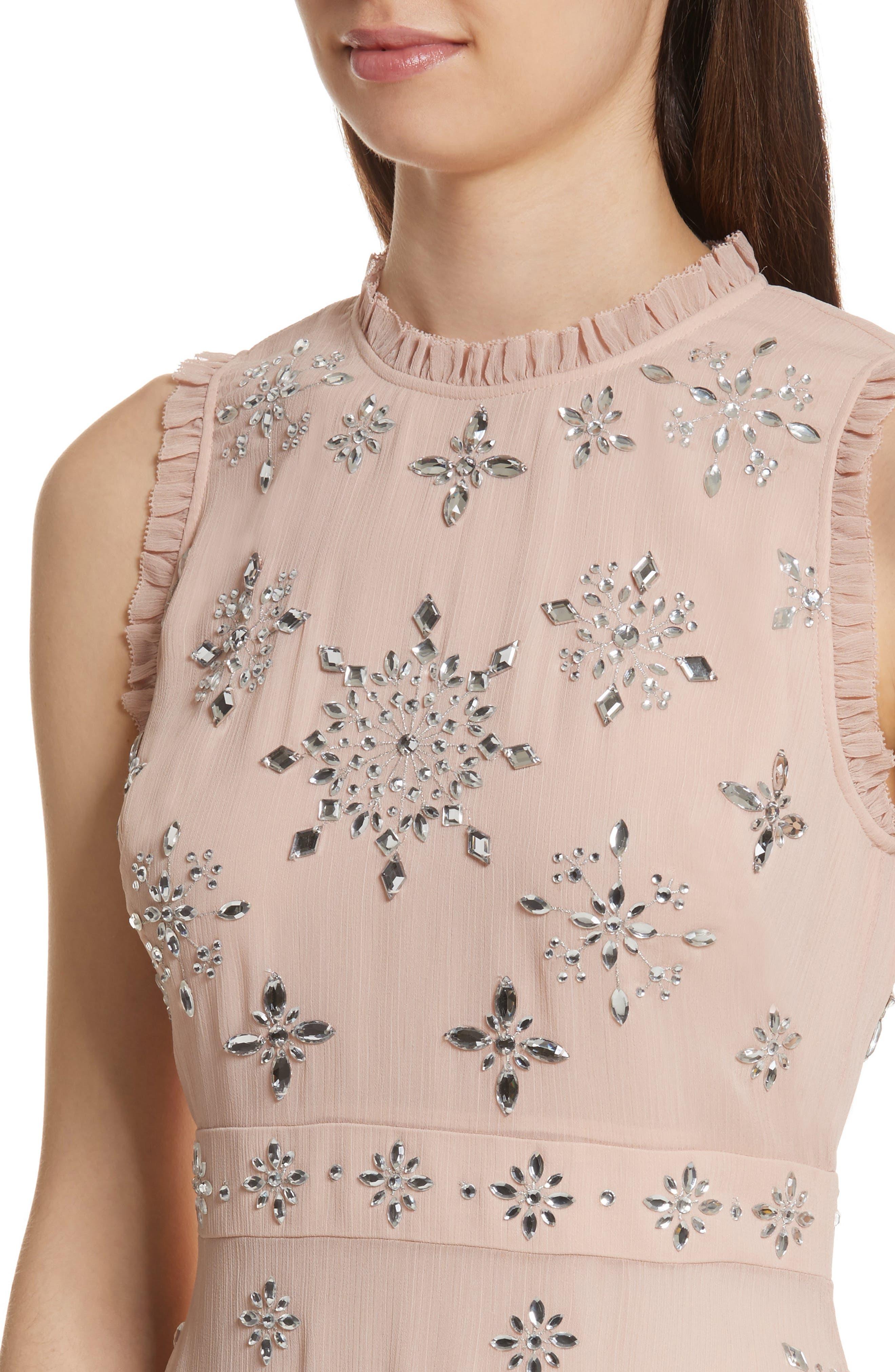 solani embellished chiffon dress,                             Alternate thumbnail 4, color,                             691