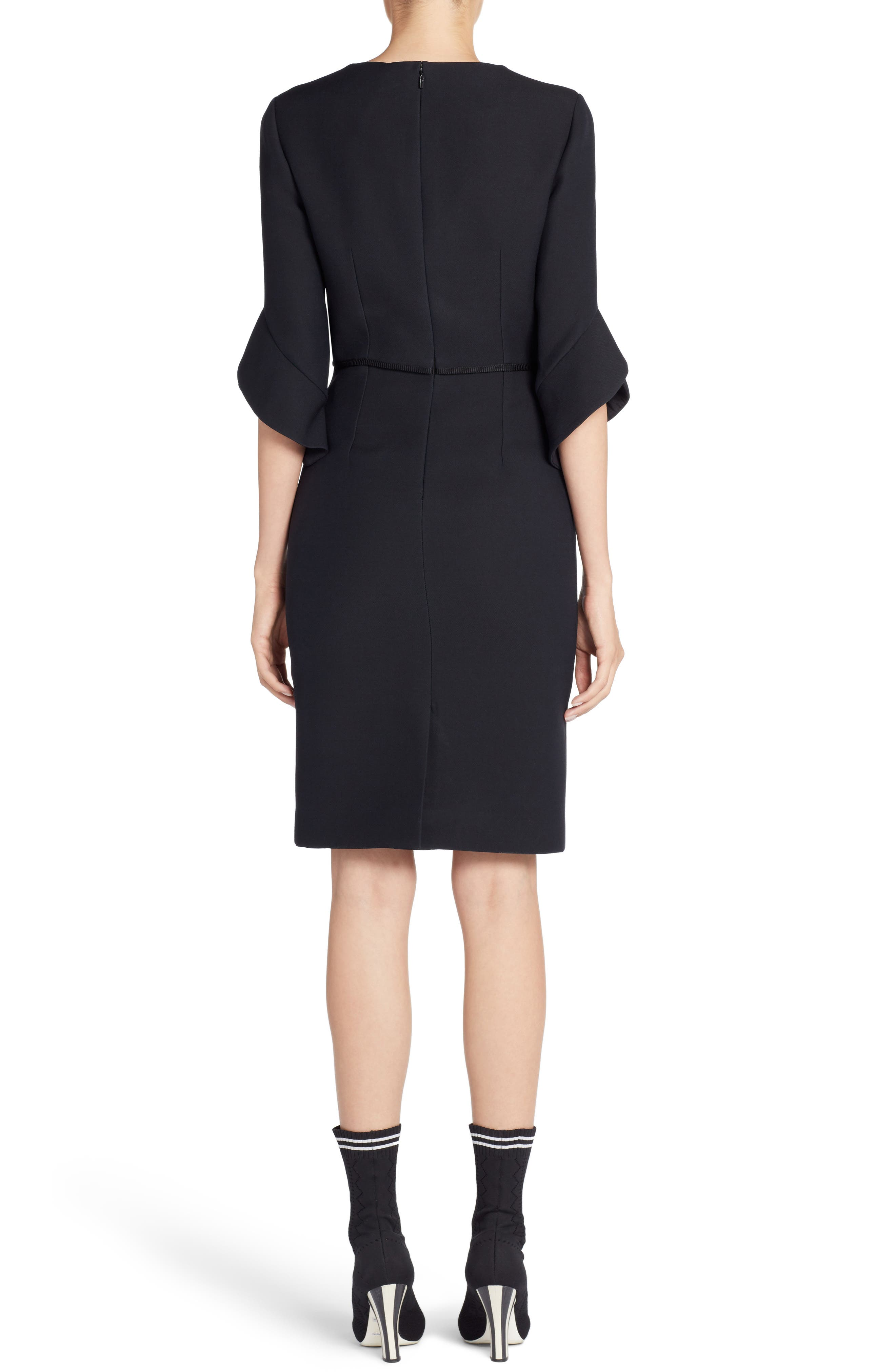 Embellished Wool & Silk Gazar Dress,                             Alternate thumbnail 2, color,                             001