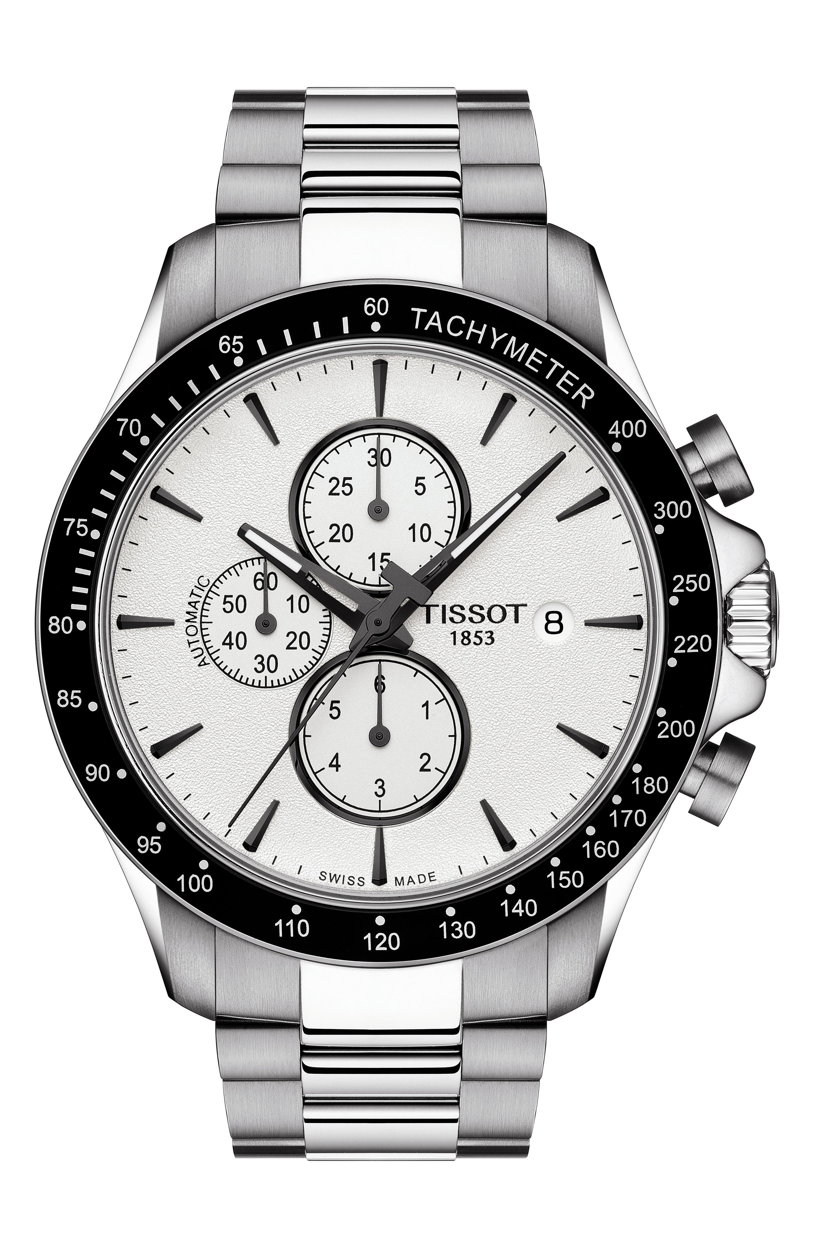 V8 Automatic Chronograph Bracelet Watch, 45mm,                         Main,                         color, SILVER